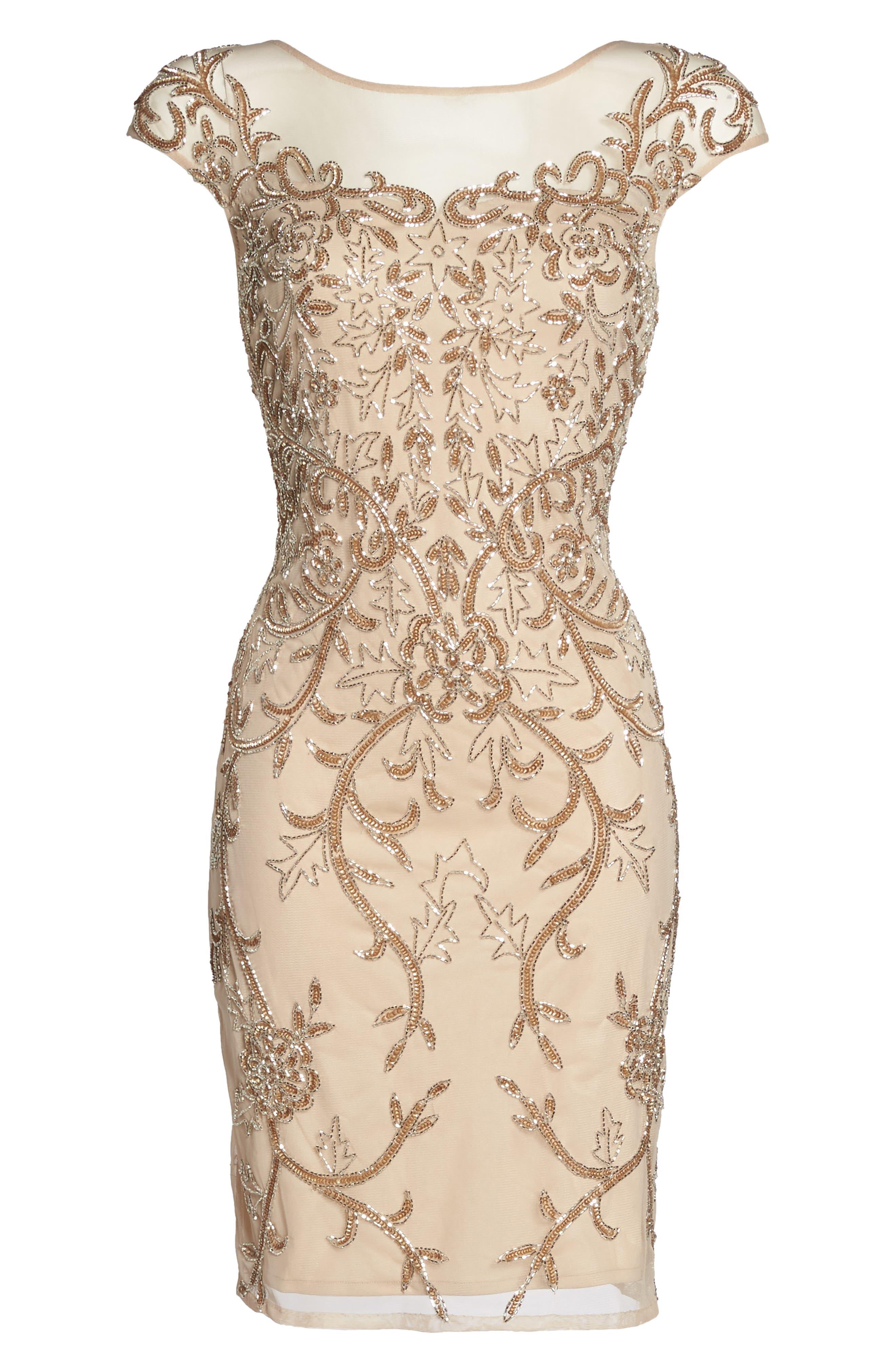 Alternate Image 6  - Pisarro Nights Embellished Illusion Sheath Dress (Regular & Petite)