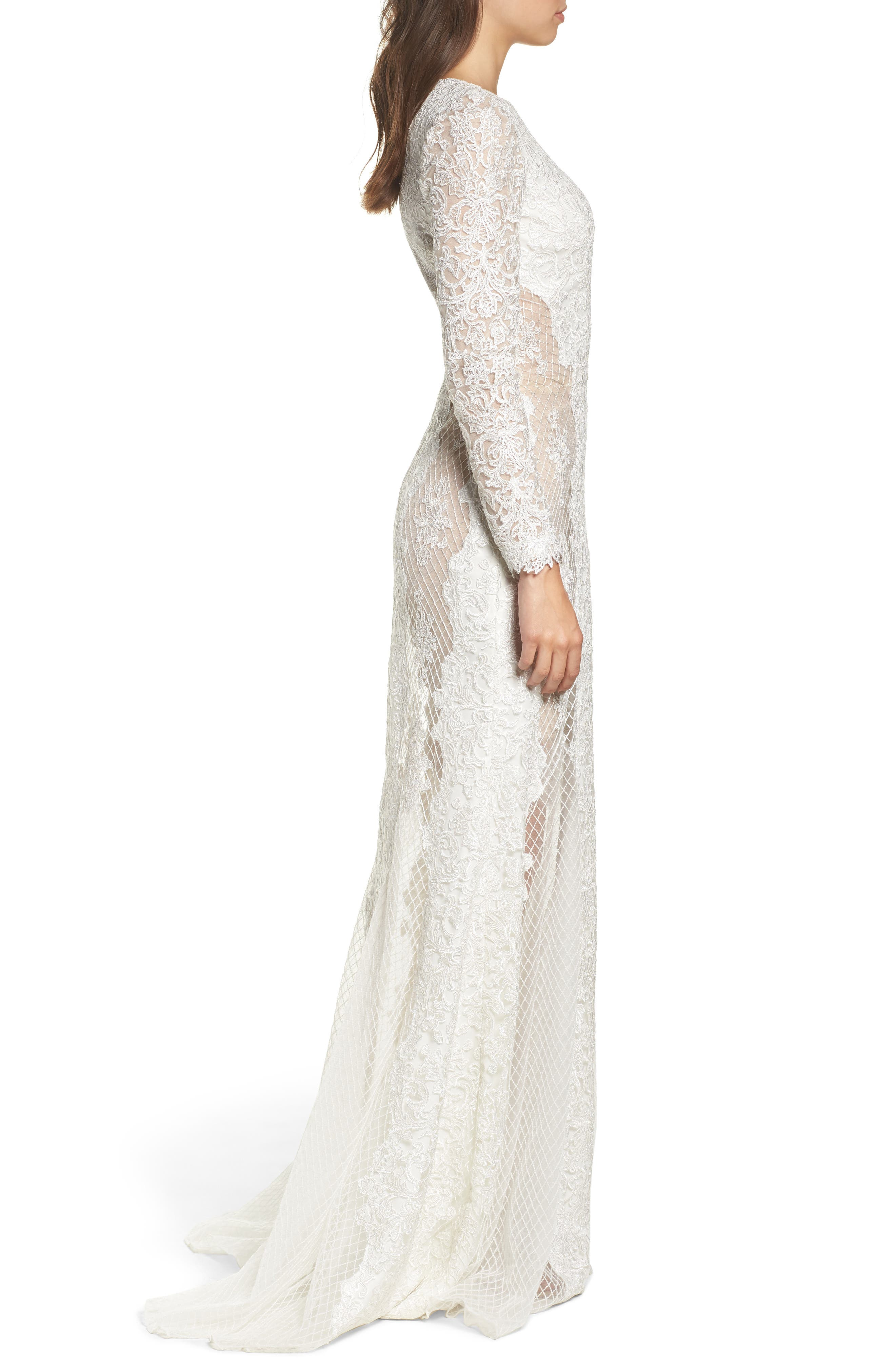 Lace & Mesh Trumpet Gown,                             Alternate thumbnail 3, color,                             Ivory