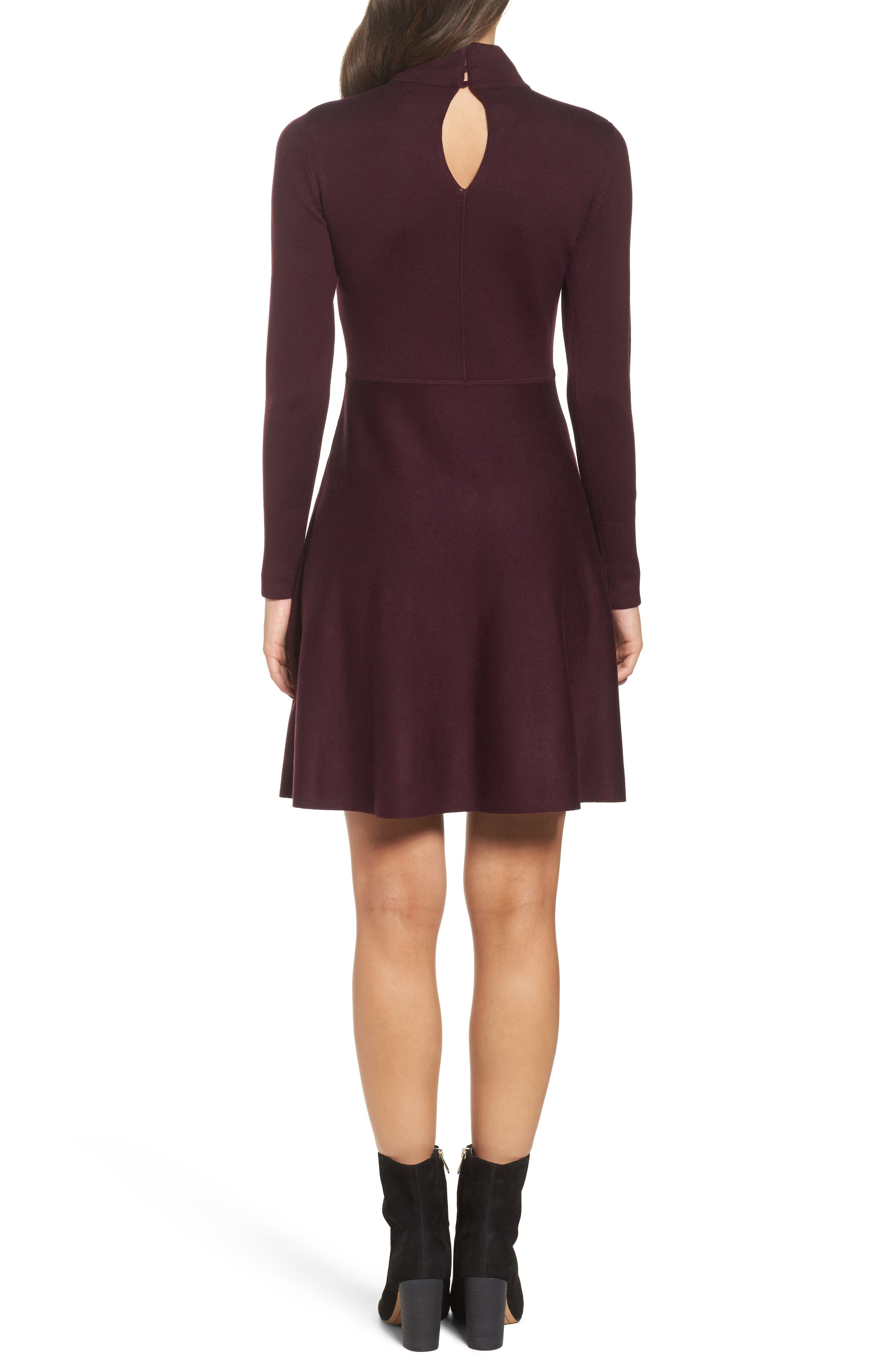 Alternate Image 2  - Eliza J Tie Neck Fit & Flare Dress (Regular & Petite)