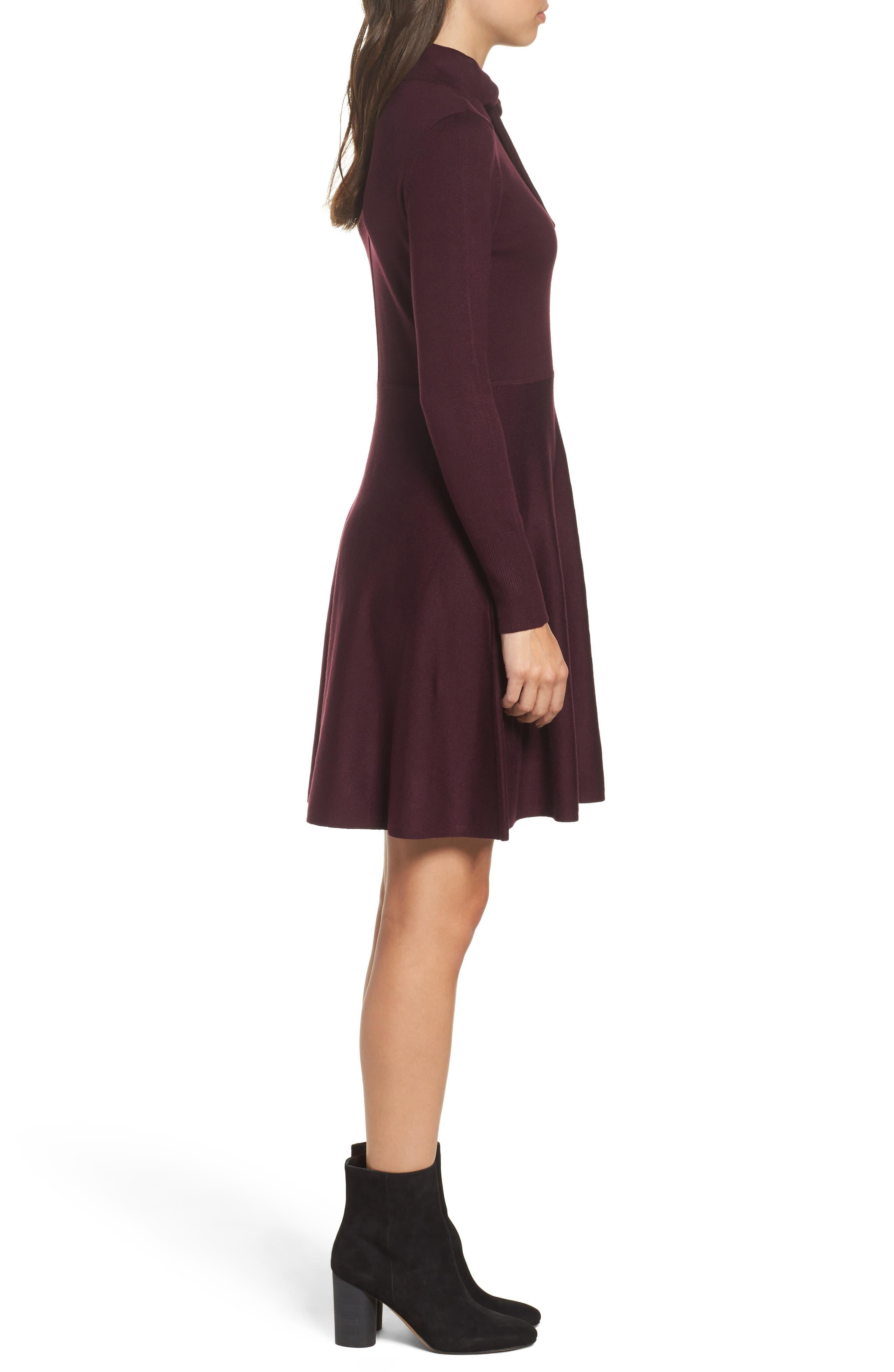 Alternate Image 3  - Eliza J Tie Neck Fit & Flare Dress (Regular & Petite)