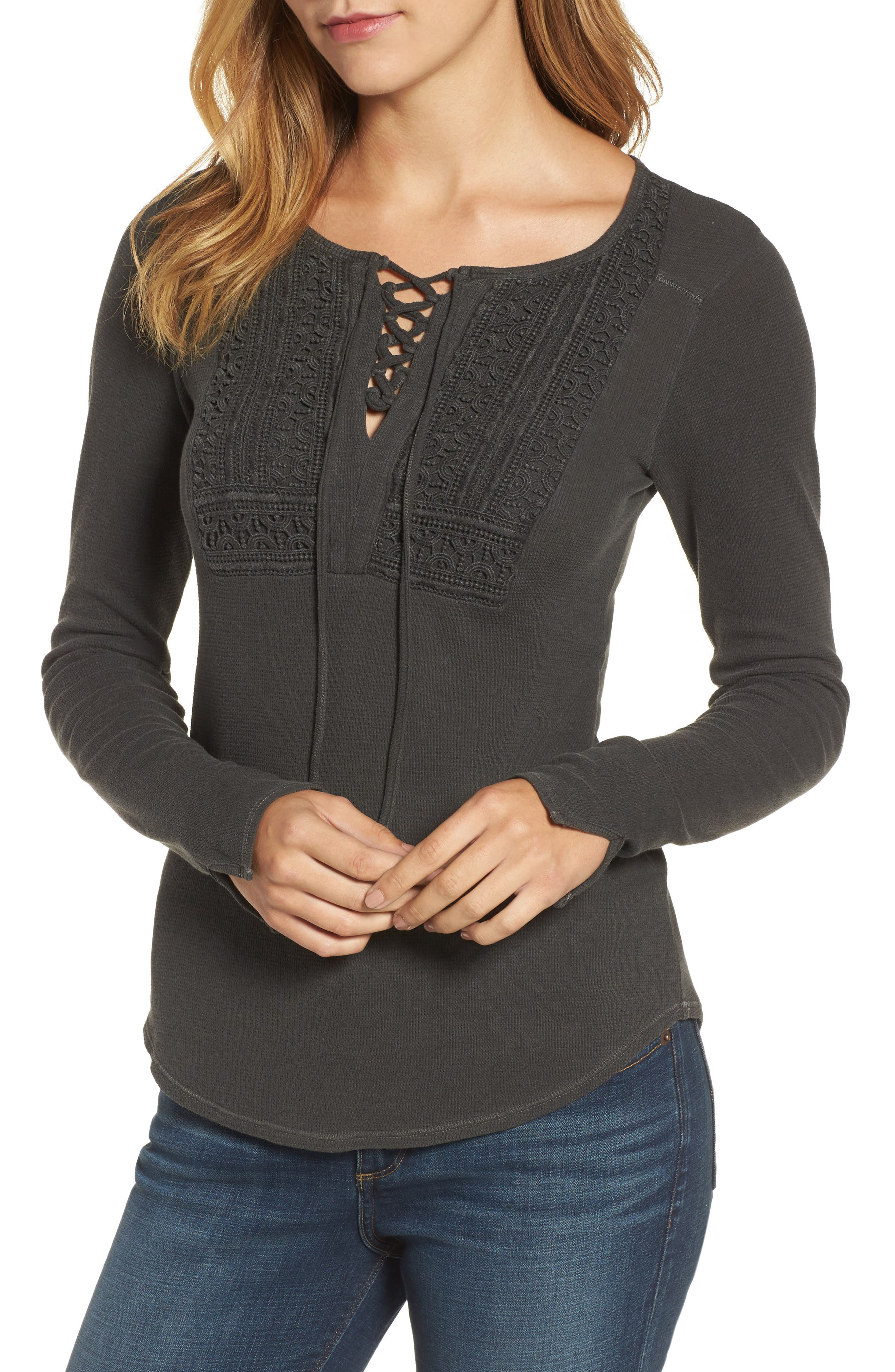 Lace-Up Bib Thermal Top,                             Main thumbnail 1, color,                             Lucky Black