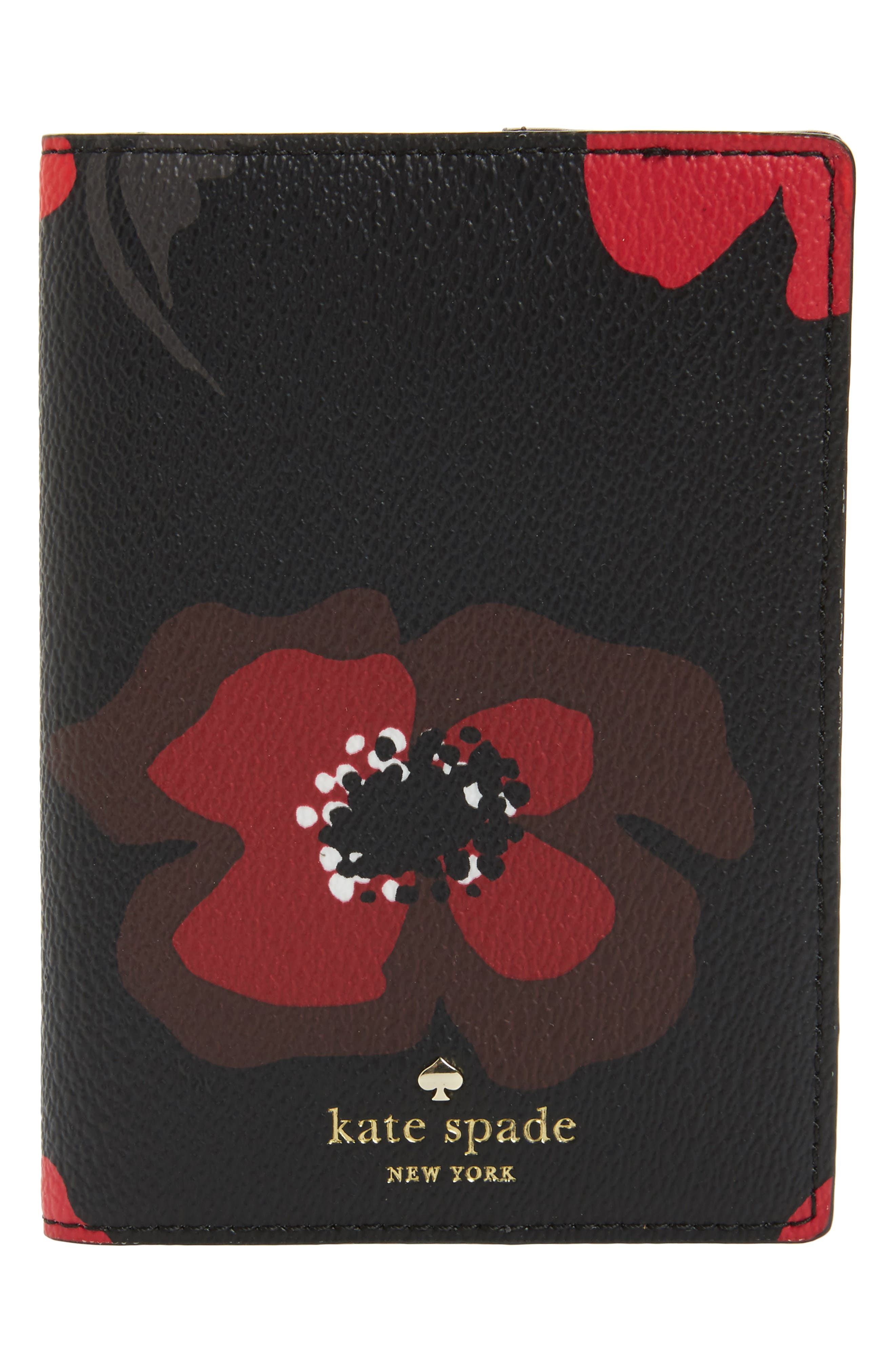 kate spade new york hyde lane - poppy leather passport holder