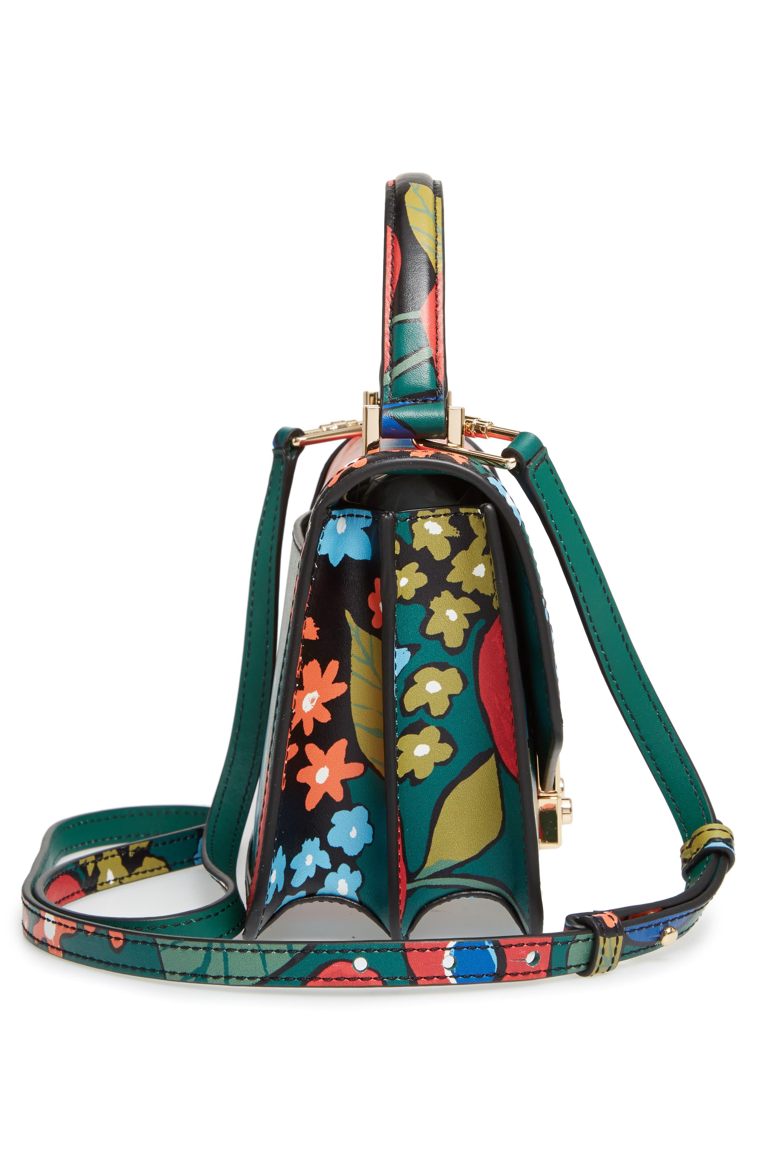 Mini Juliette Leather Top Handle Satchel,                             Alternate thumbnail 4, color,                             Darling Floral