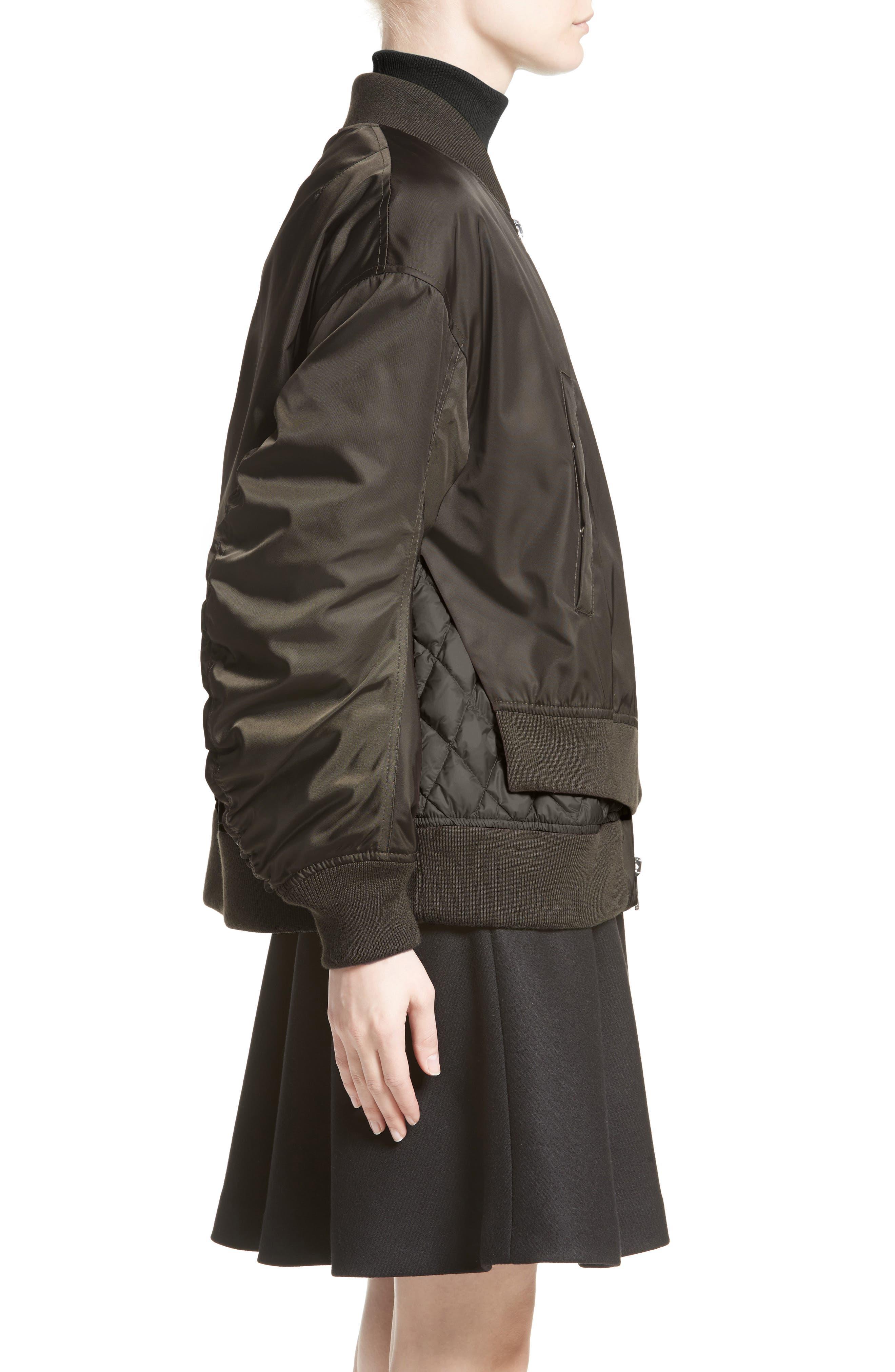 Aralia Layered Bomber Jacket,                             Alternate thumbnail 7, color,                             Olive/ Blush Lining