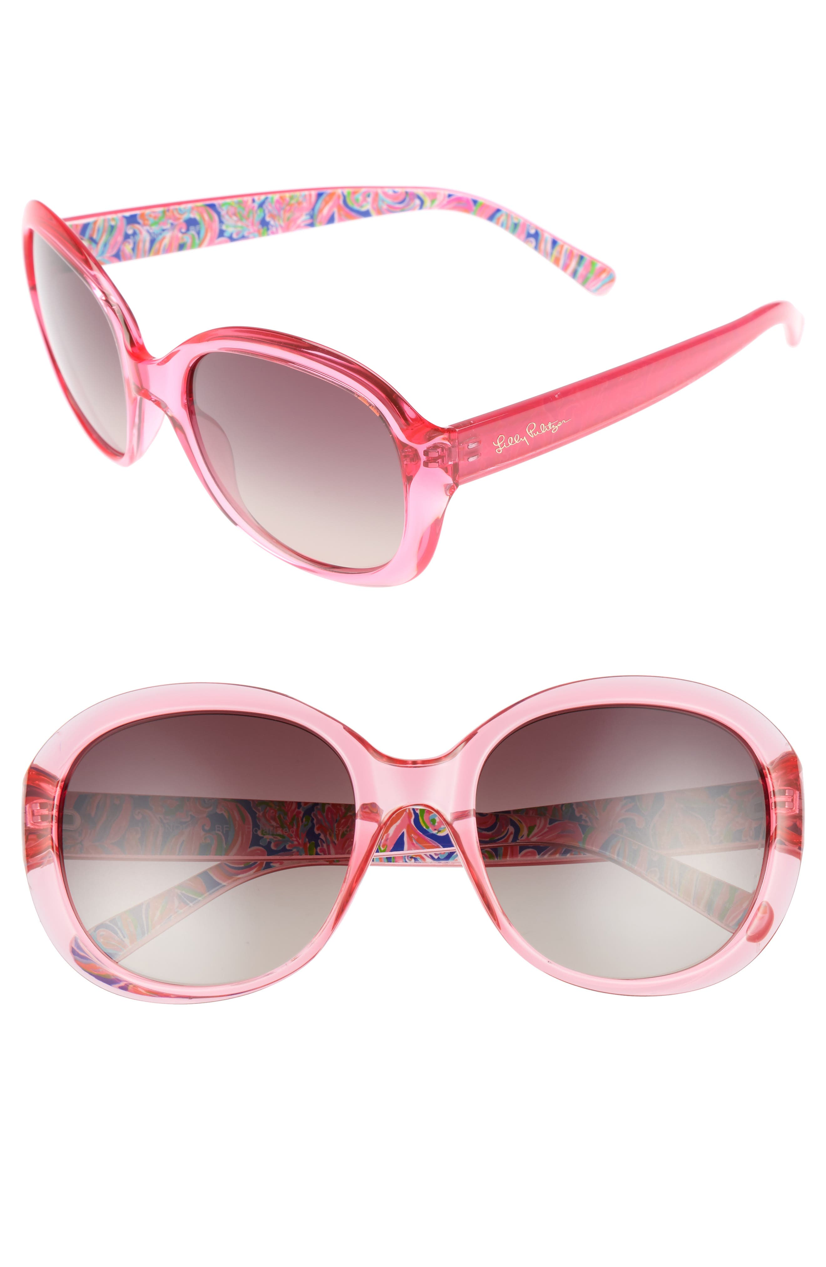 Lilly Pulitzer® Magnolia 57mm Polarized Round Sunglasses