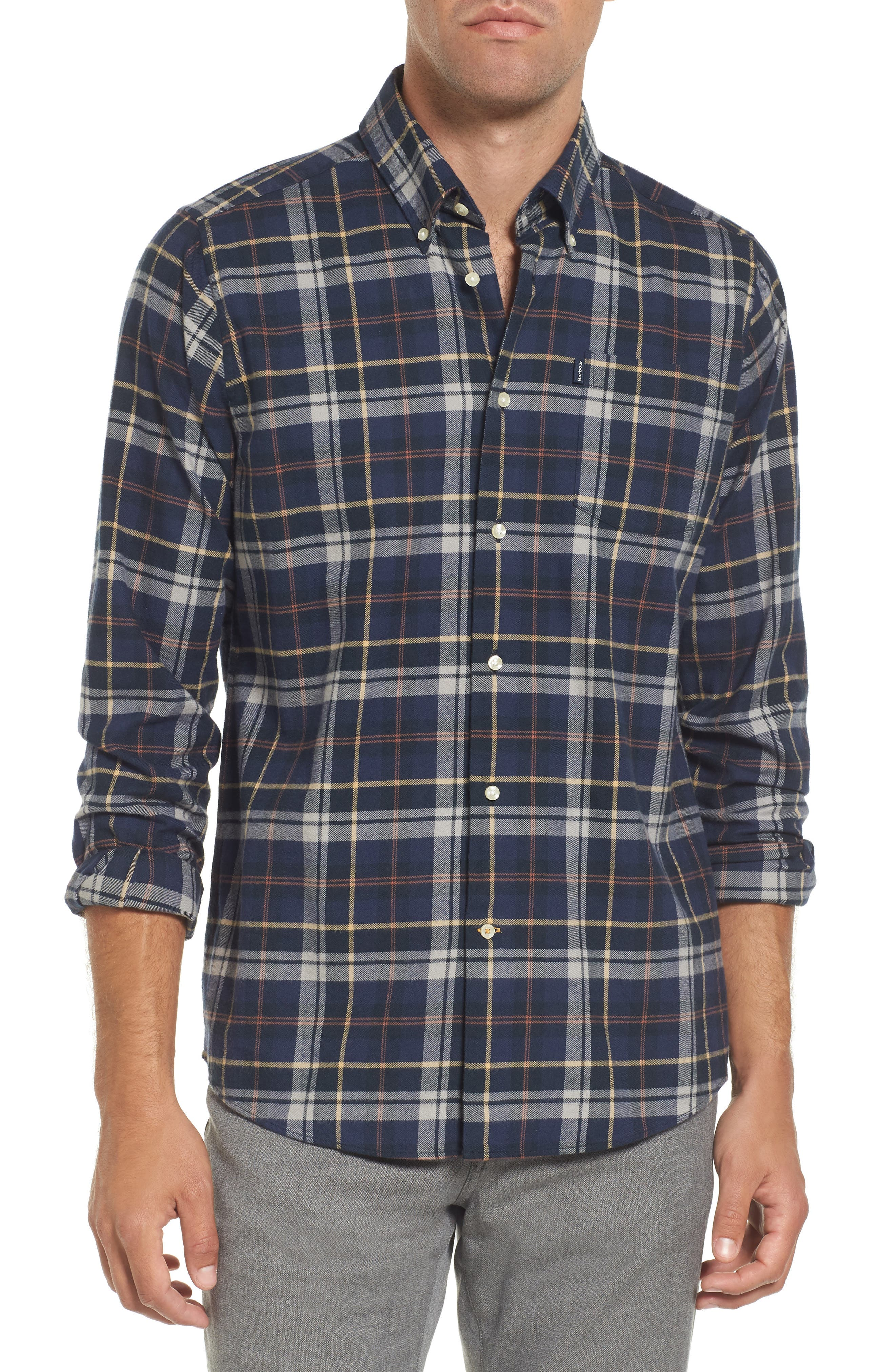 Barbour Blane Regular Fit Plaid Sport Shirt