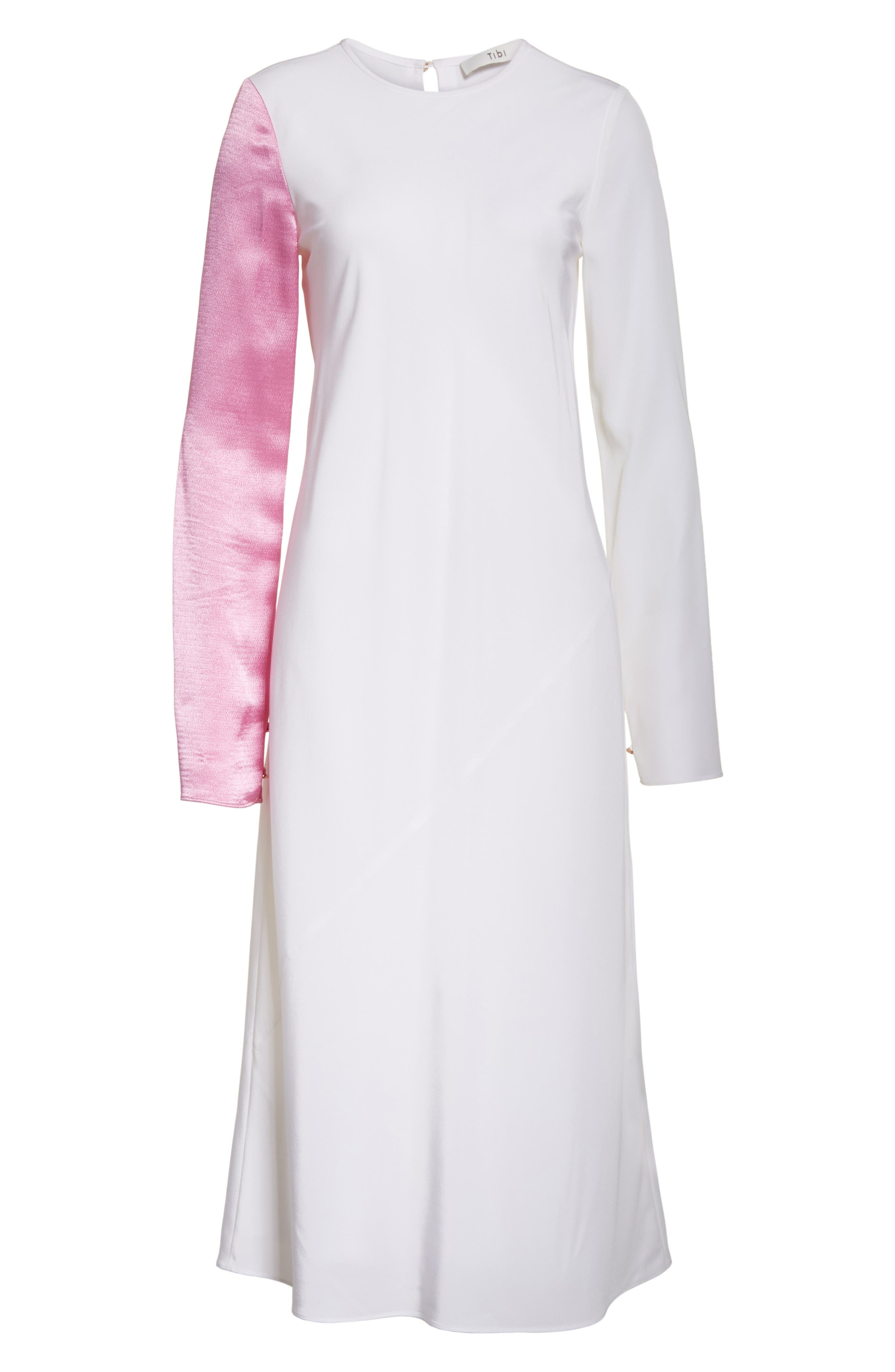 Colorblock Silk Sleeve Dress,                             Alternate thumbnail 6, color,                             White Multi