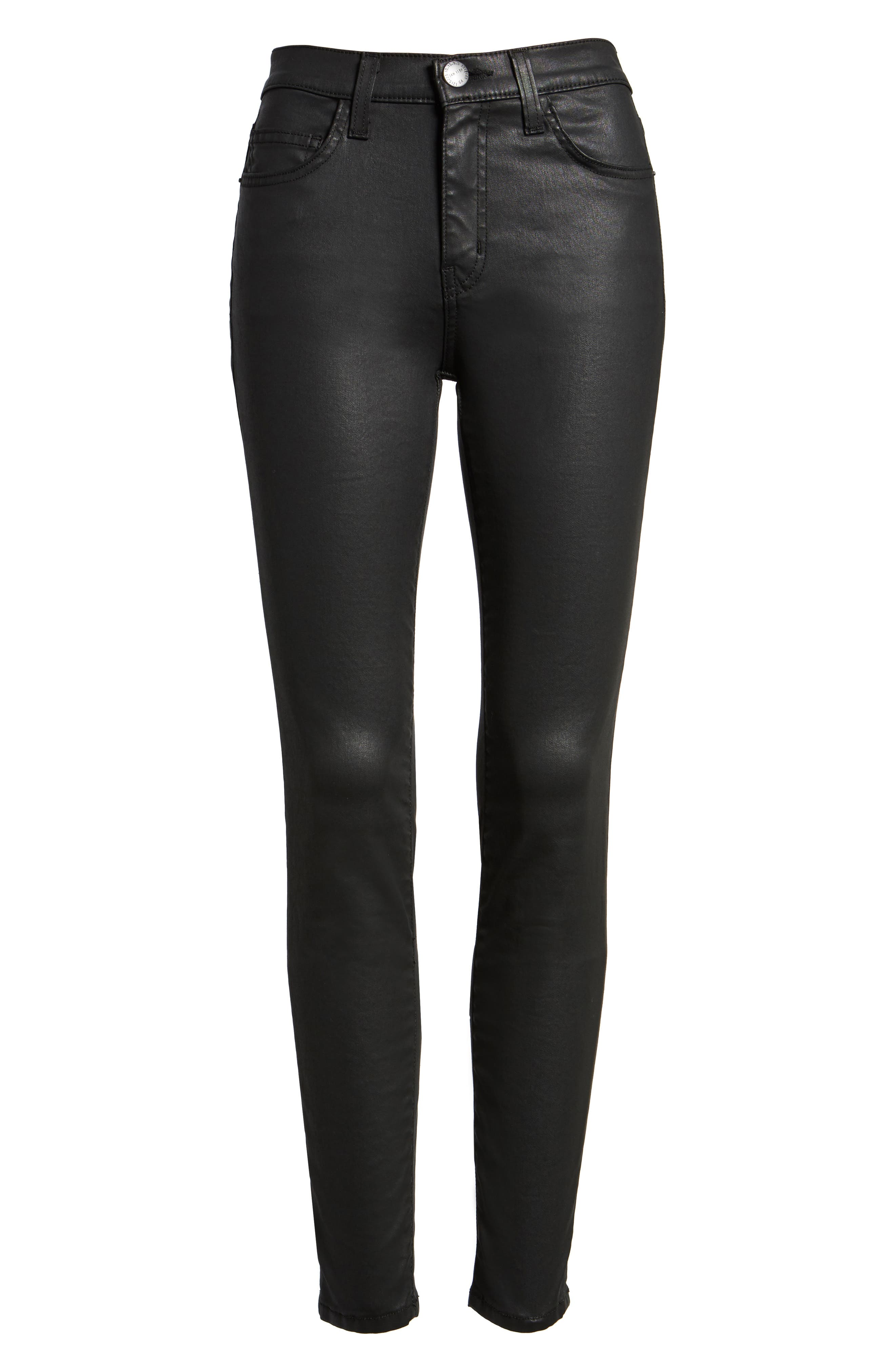 The High Waist Ankle Skinny Jeans,                             Alternate thumbnail 6, color,                             Black Coated