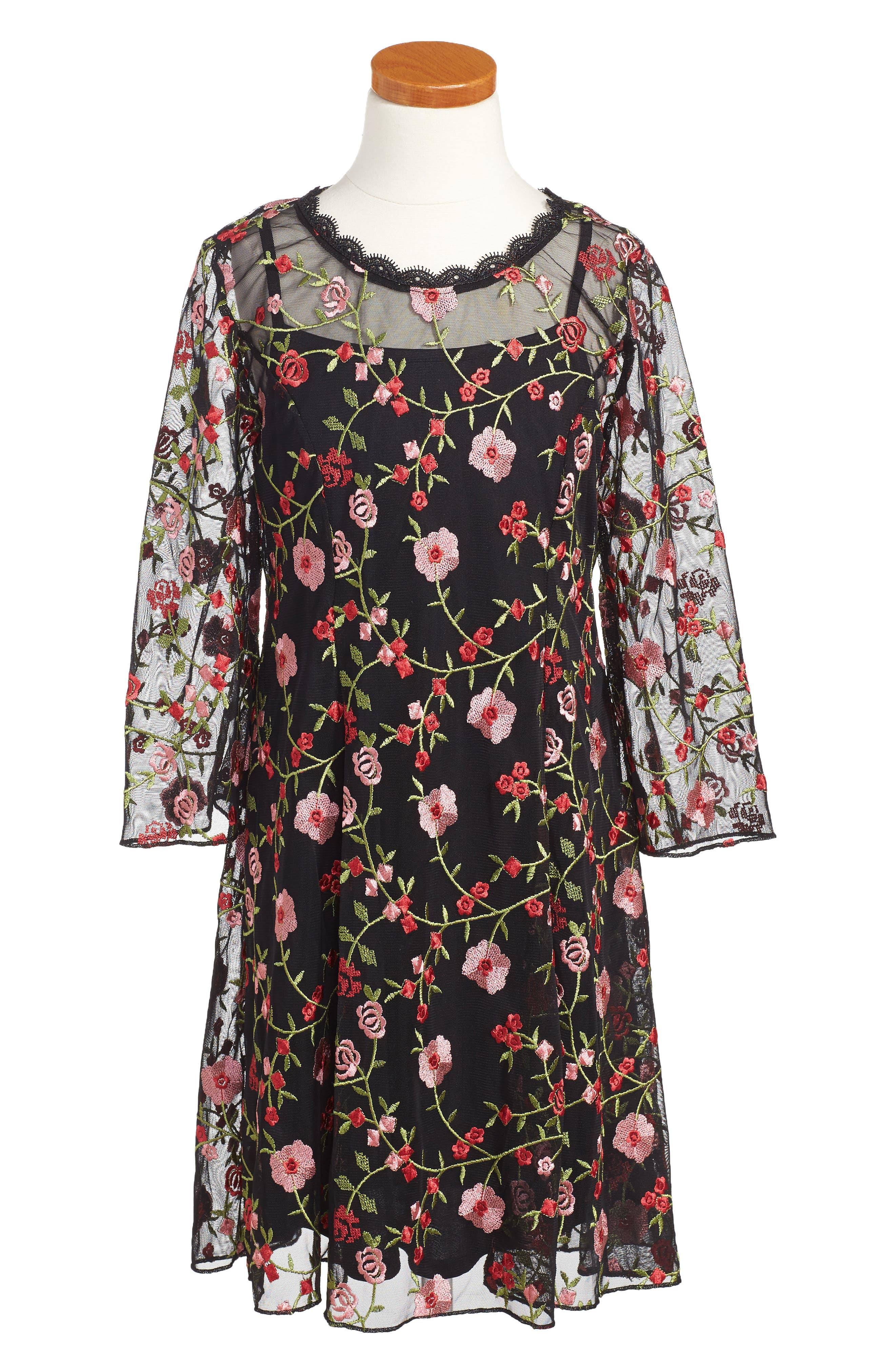 Floral Embroidered Shift Dress,                         Main,                         color, Black/ Red