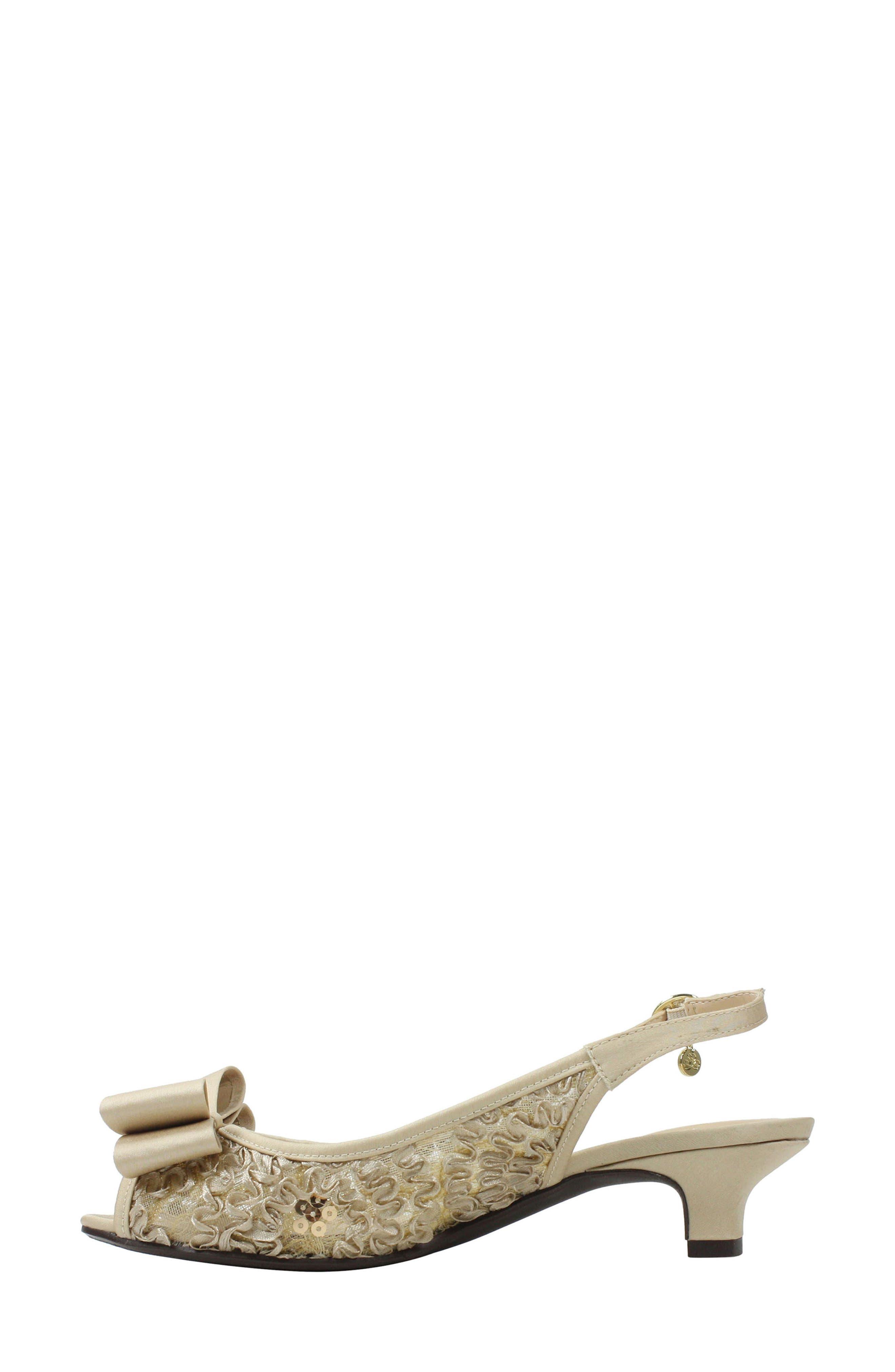 Landan Bow Slingback Sandal,                             Alternate thumbnail 2, color,                             Champagne