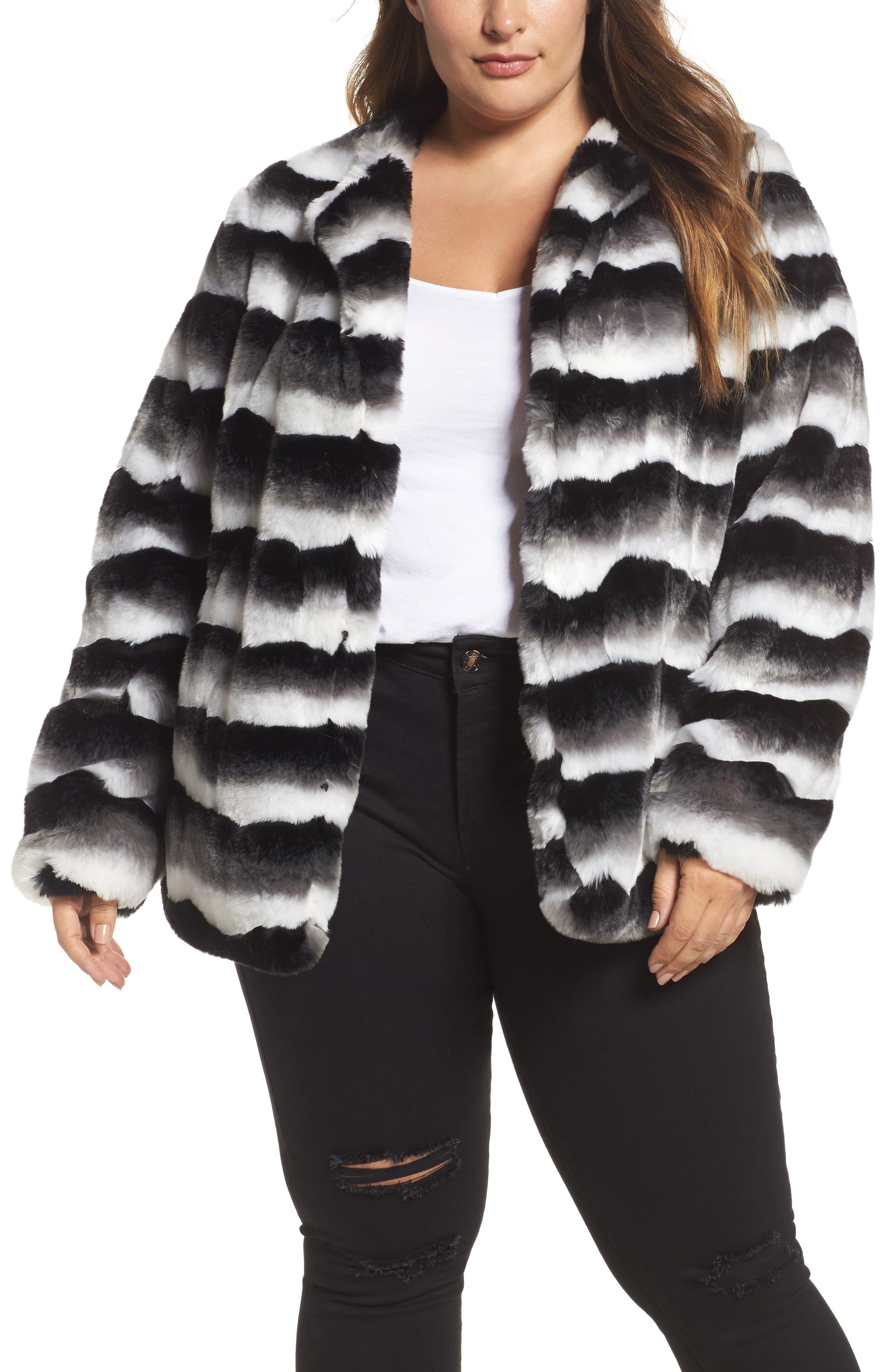 JUNAROSE Stripe Faux Fur Jacket (Plus Size)
