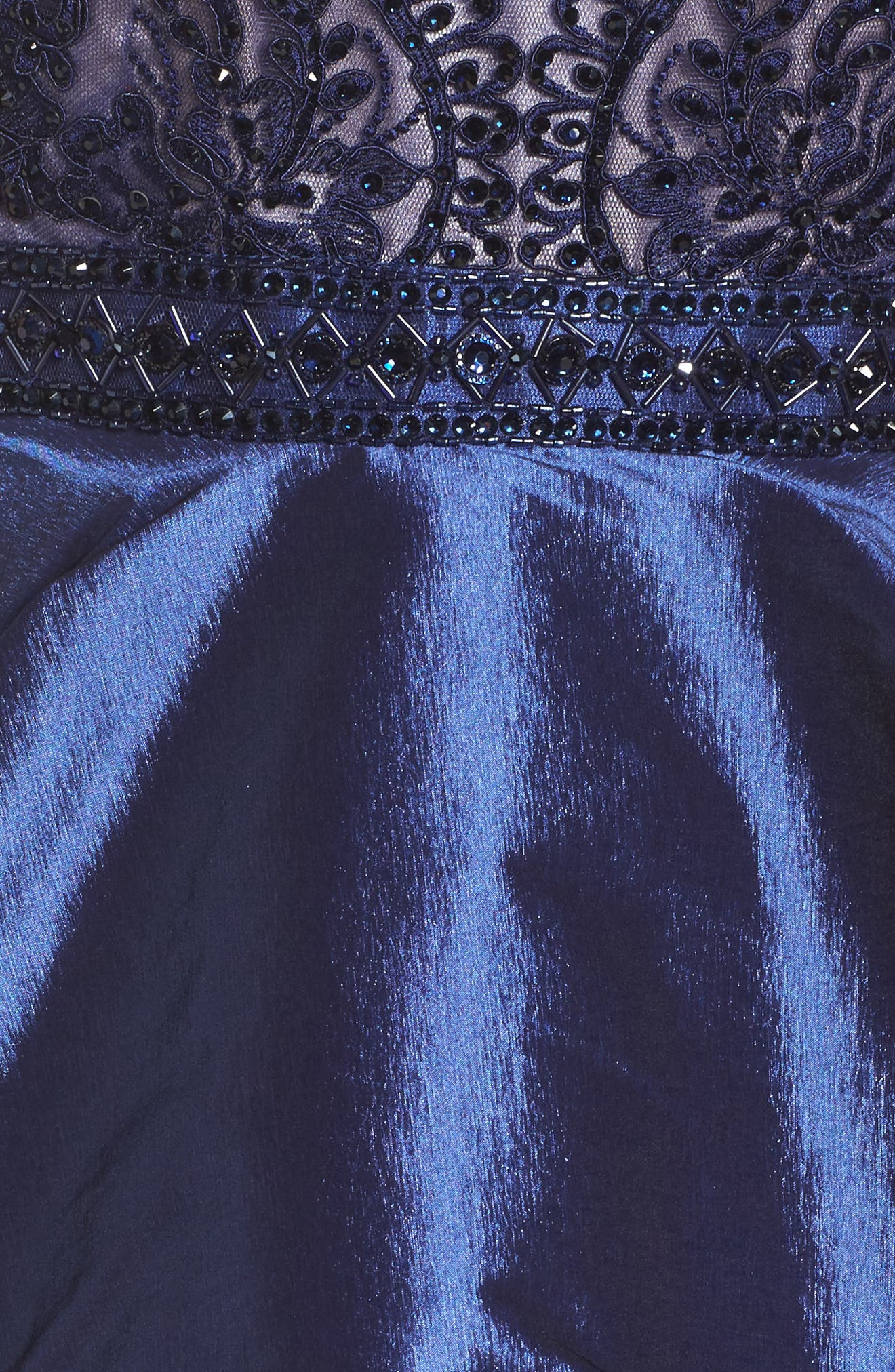 Lace Bodice Tiered Mikado Fit & Flare Dress,                             Alternate thumbnail 5, color,                             Navy