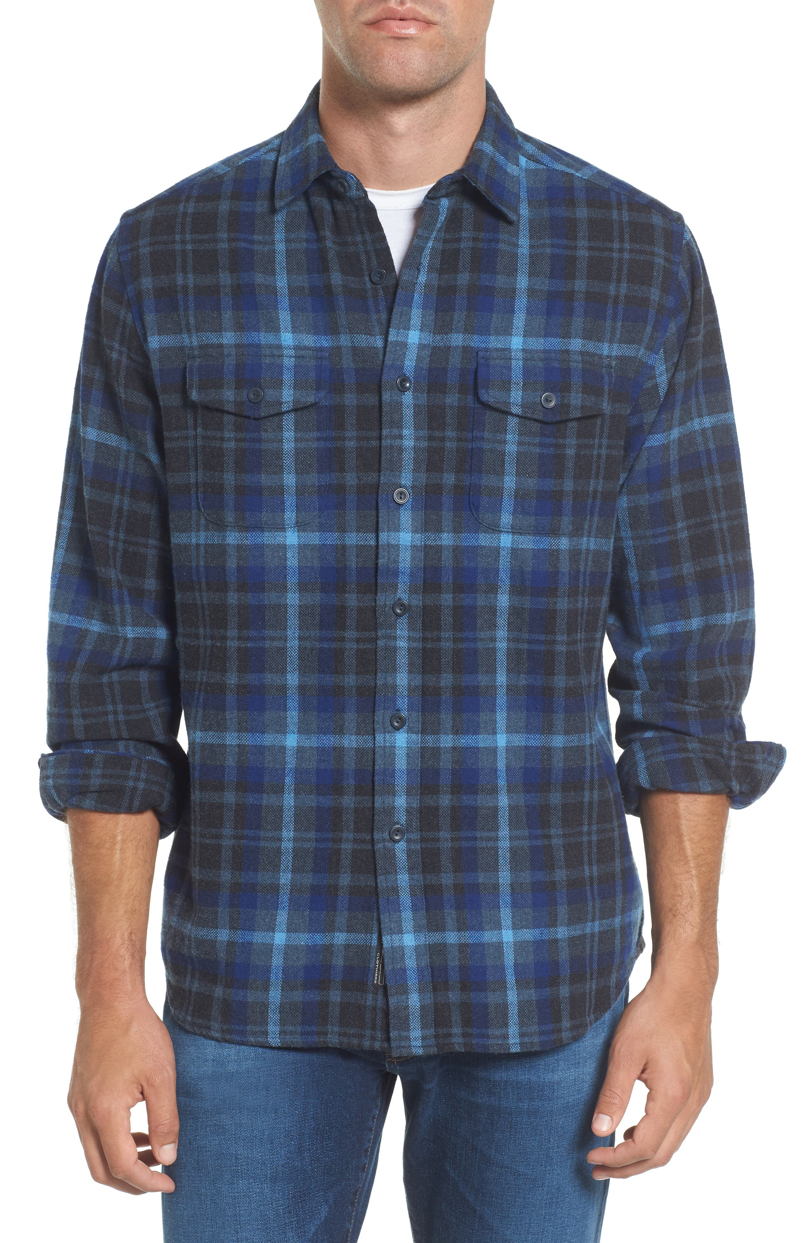 Barton Modern Fit Plaid Flannel Sport Shirt,                         Main,                         color, Charcoal Royal Gray