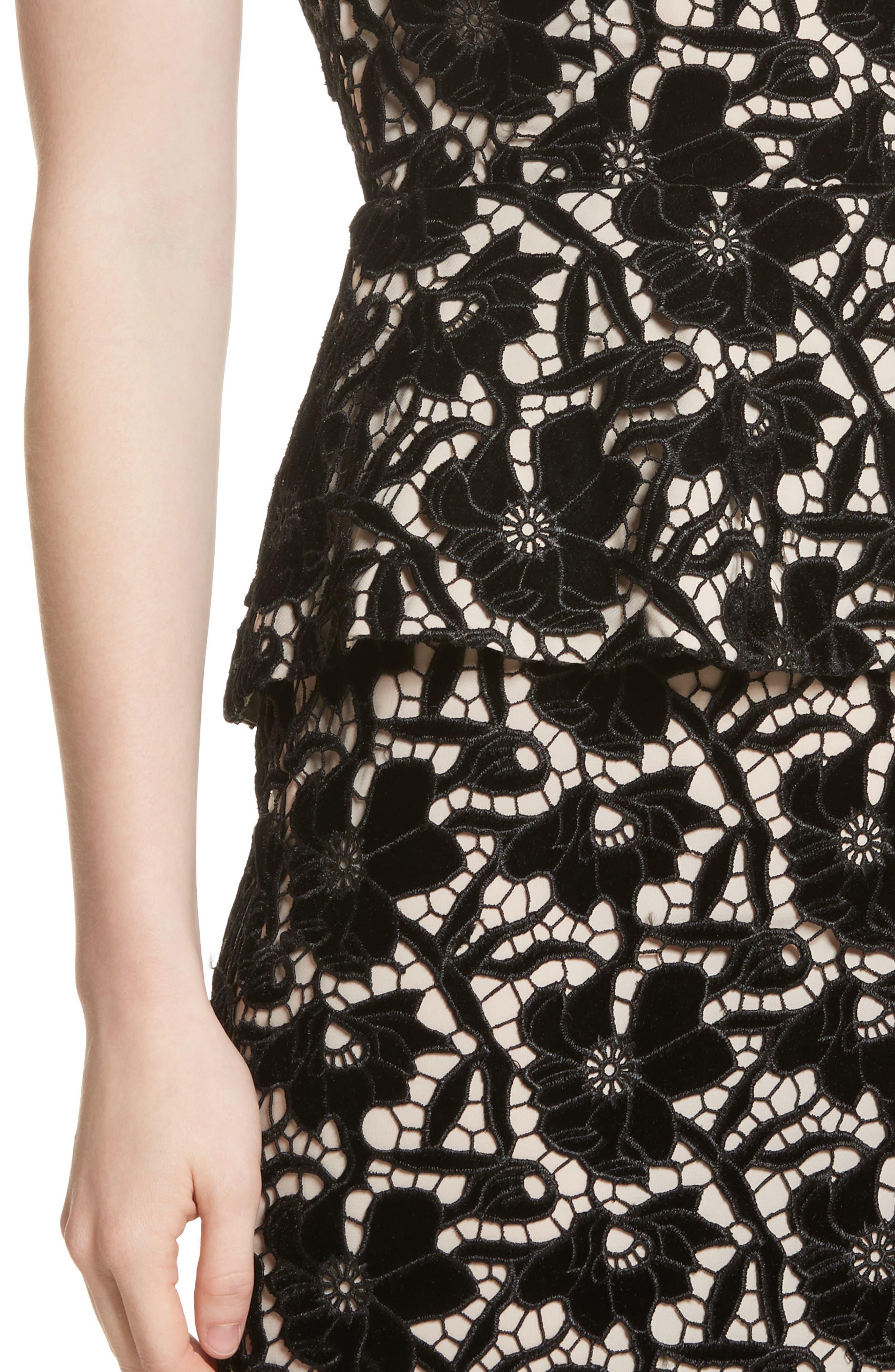 Jae Peplum Open Back Dress,                             Alternate thumbnail 4, color,                             Black/ Sesame