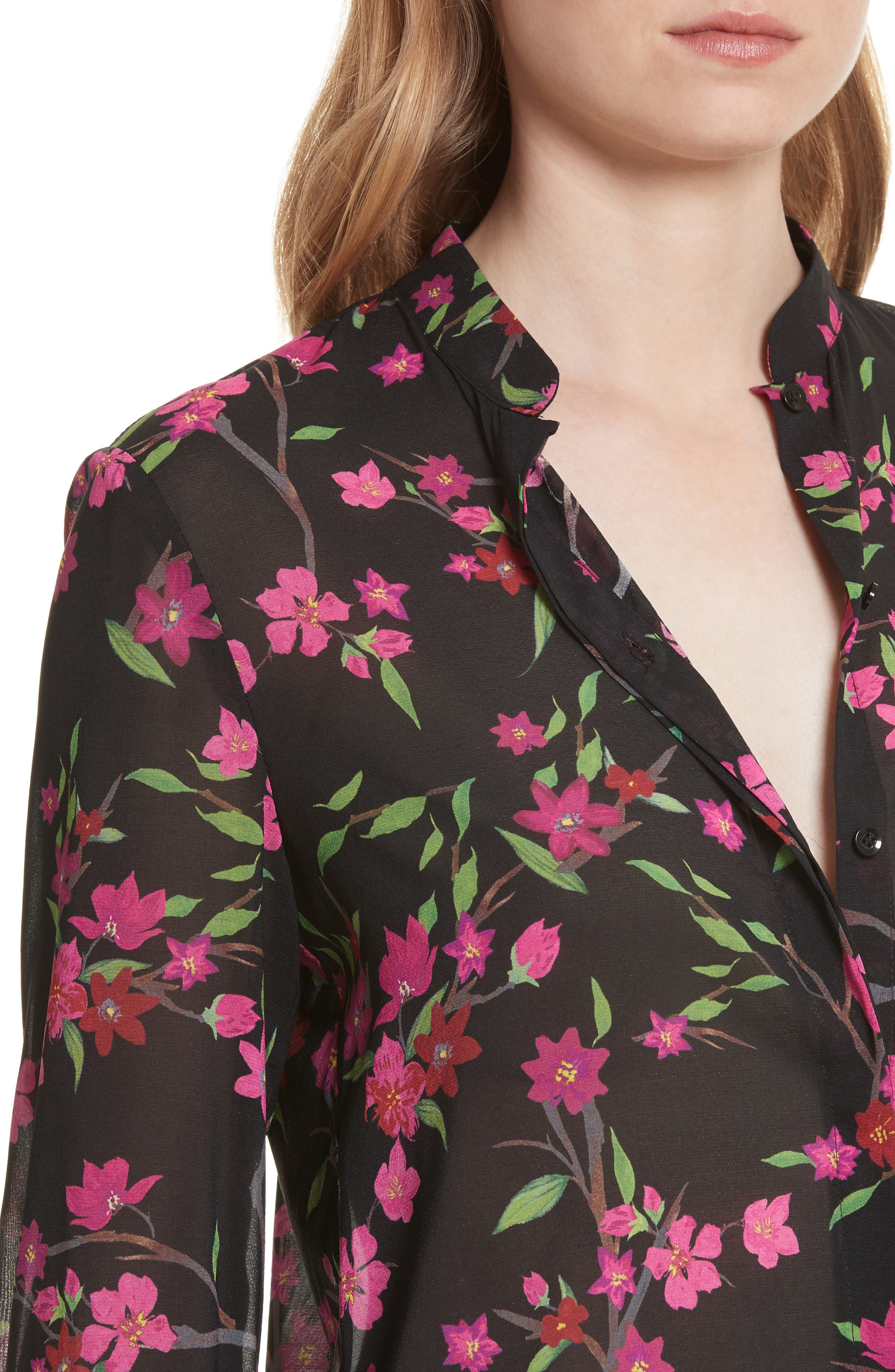 Eloise Mandarin Collar Blouse,                             Alternate thumbnail 5, color,                             Sakura Floral/ Black