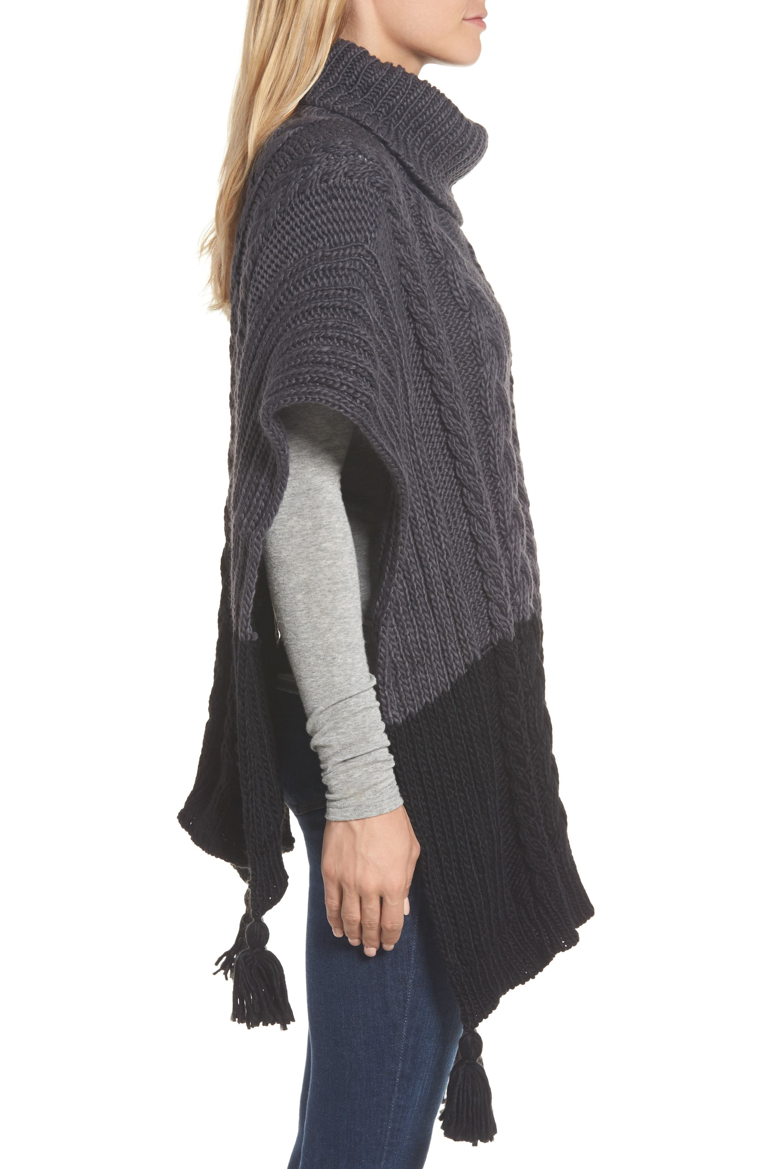 Cable Knit Poncho,                             Alternate thumbnail 3, color,                             Grey Night