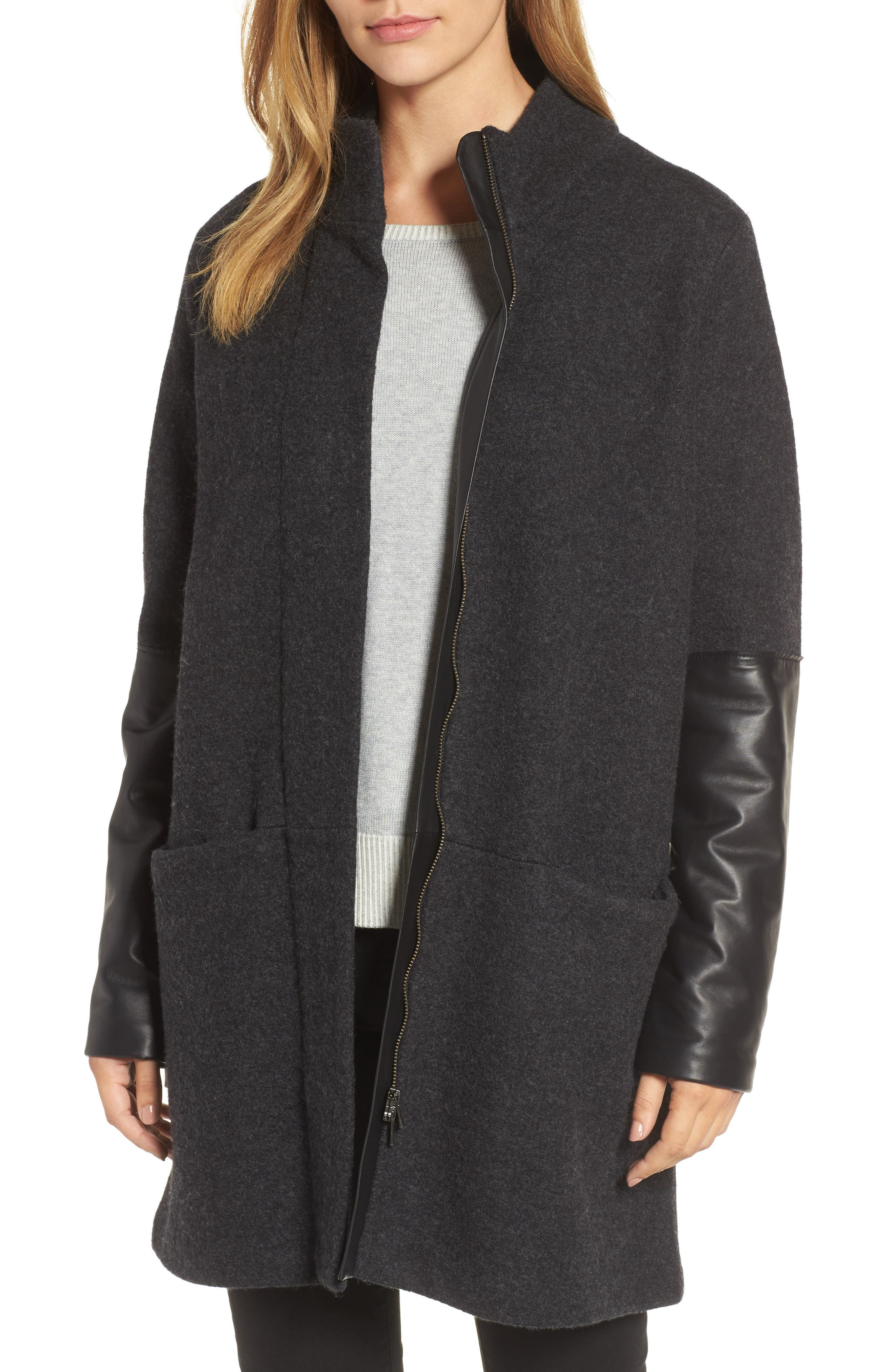 Leather Sleeve Wool Jacket,                         Main,                         color, Charcoal