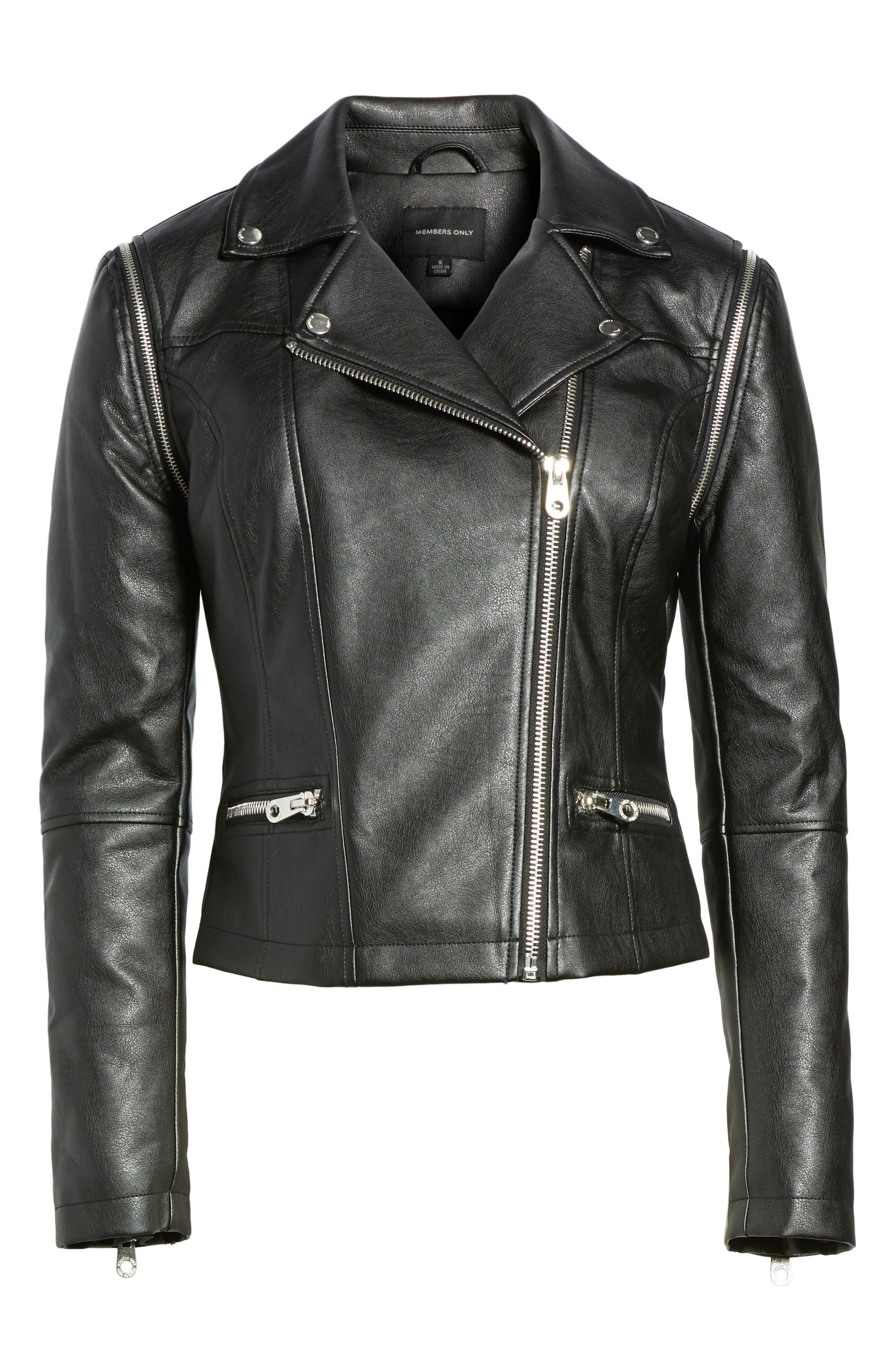 Alternate Image 6  - Members Only Faux Leather Biker Jacket