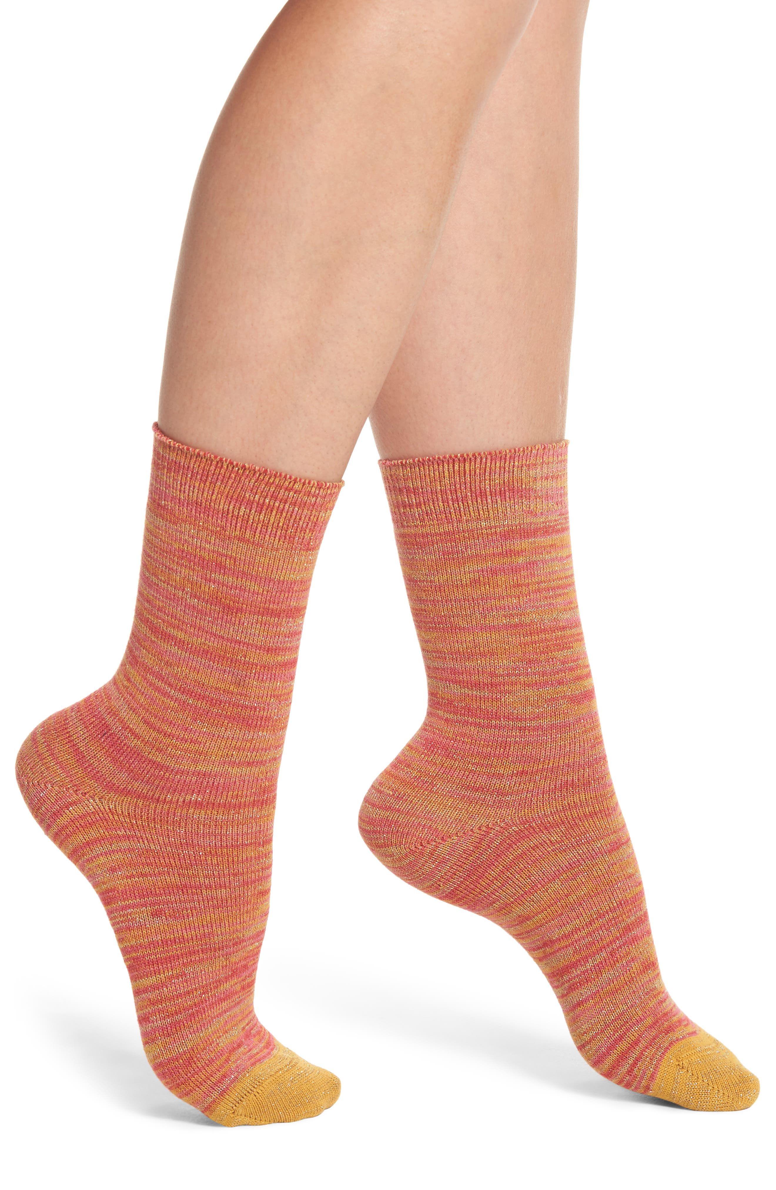 Emily Twinkletoes Crew Socks,                             Main thumbnail 1, color,                             Multi Coral