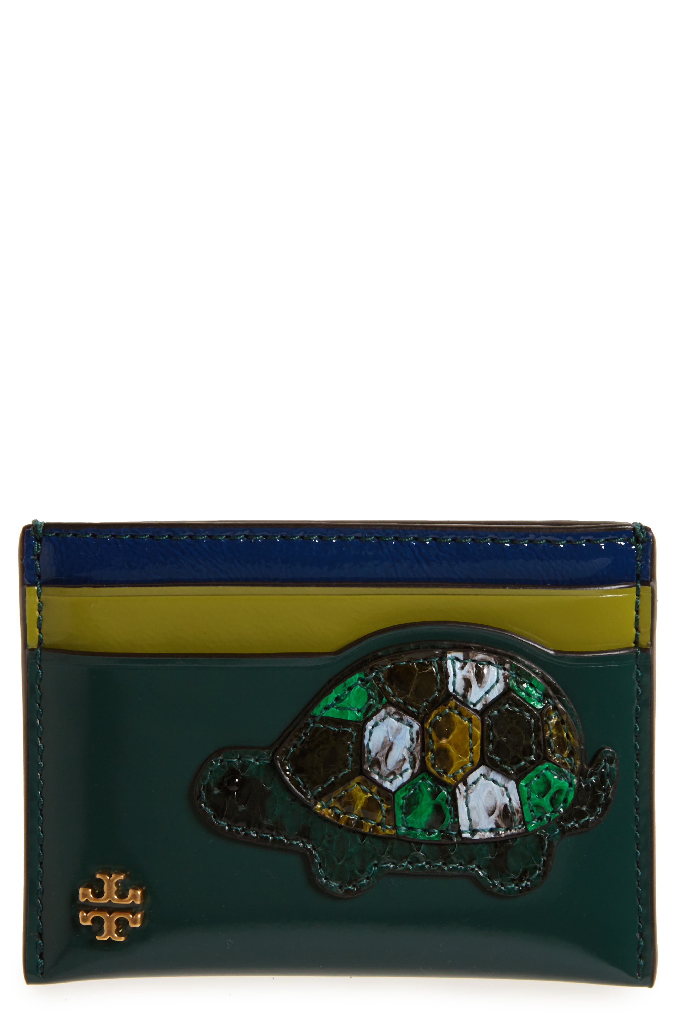 Turtle Appliqué Leather & Genuine Snakeskin Card Case,                         Main,                         color, Malachite