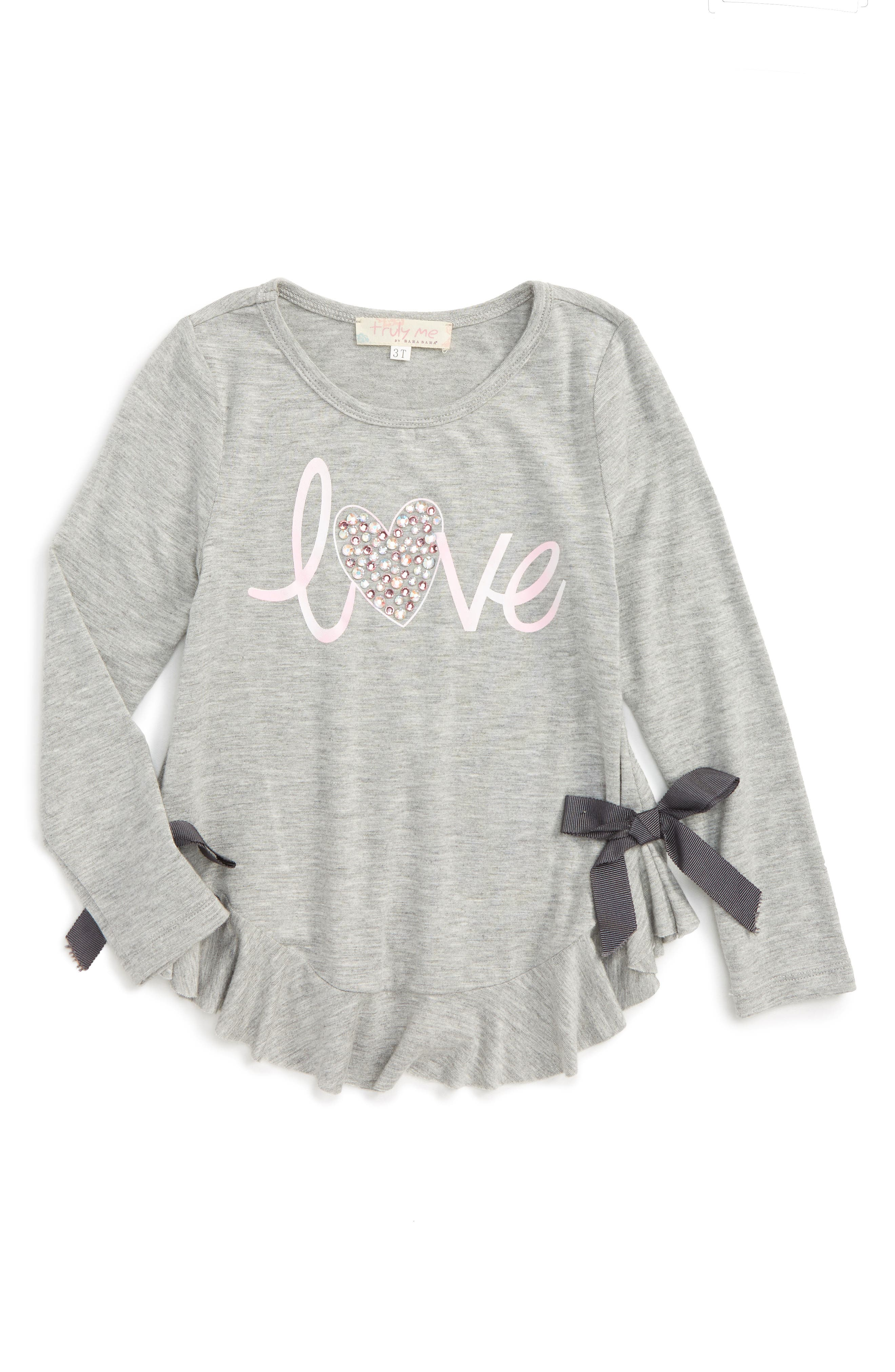 Main Image - Truly Me Love Embellished Graphic Tee (Toddler Girls & Little Girls)