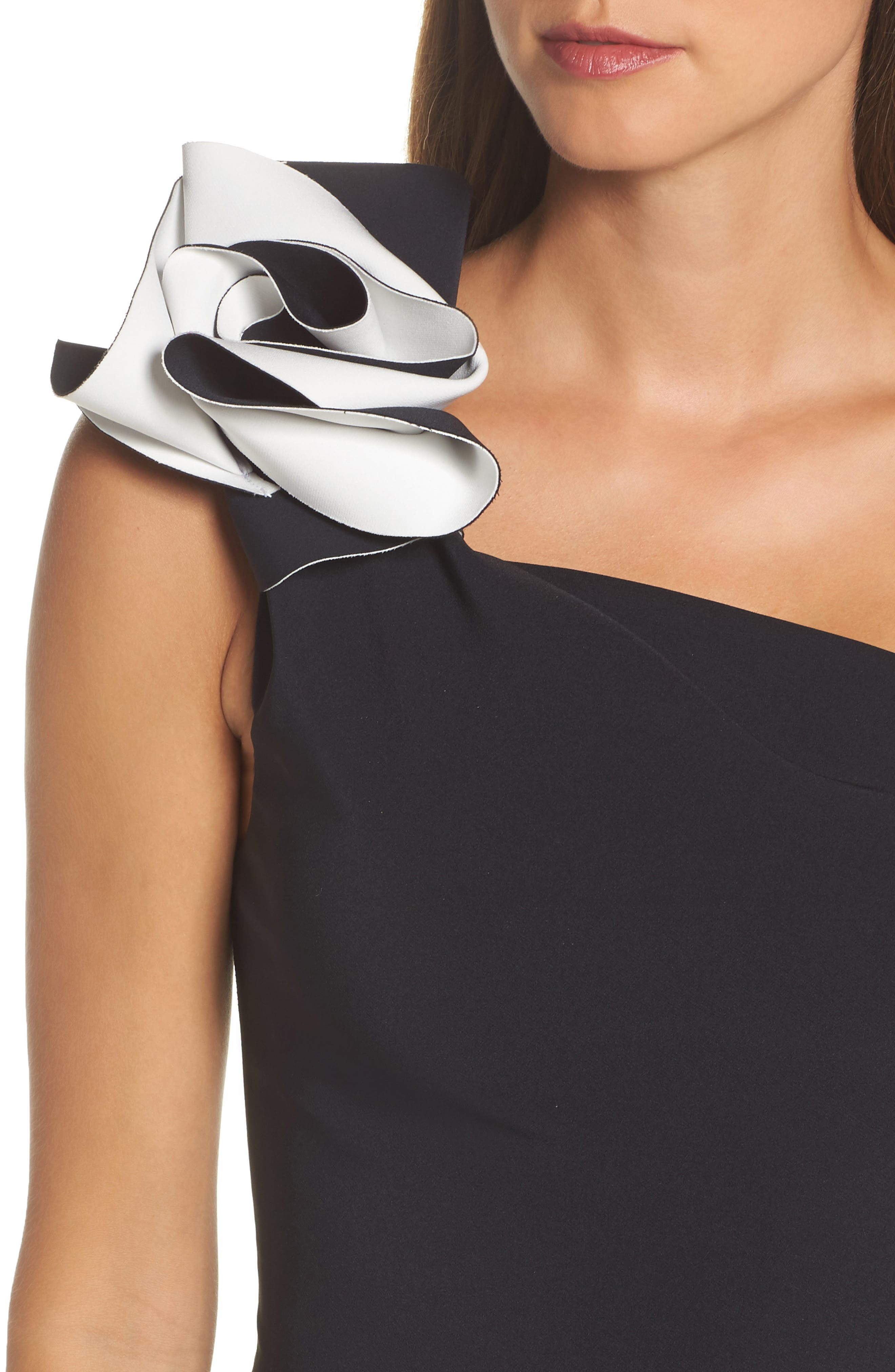 Sydney Ruffle One-Shoulder Gown,                             Alternate thumbnail 4, color,                             Black/ Ivory