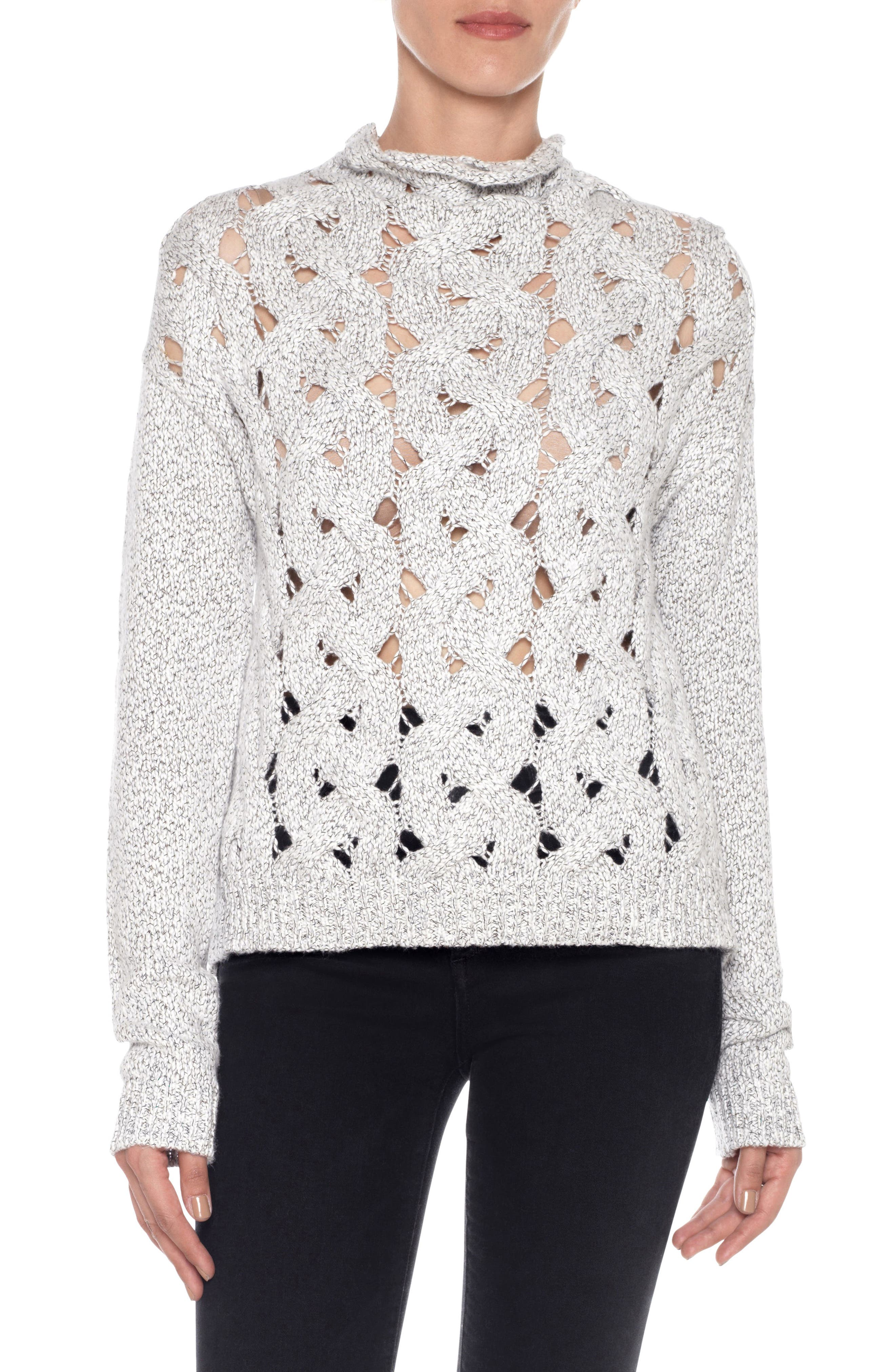 Aubree Roll Neck Sweater,                             Main thumbnail 1, color,                             White/ Black