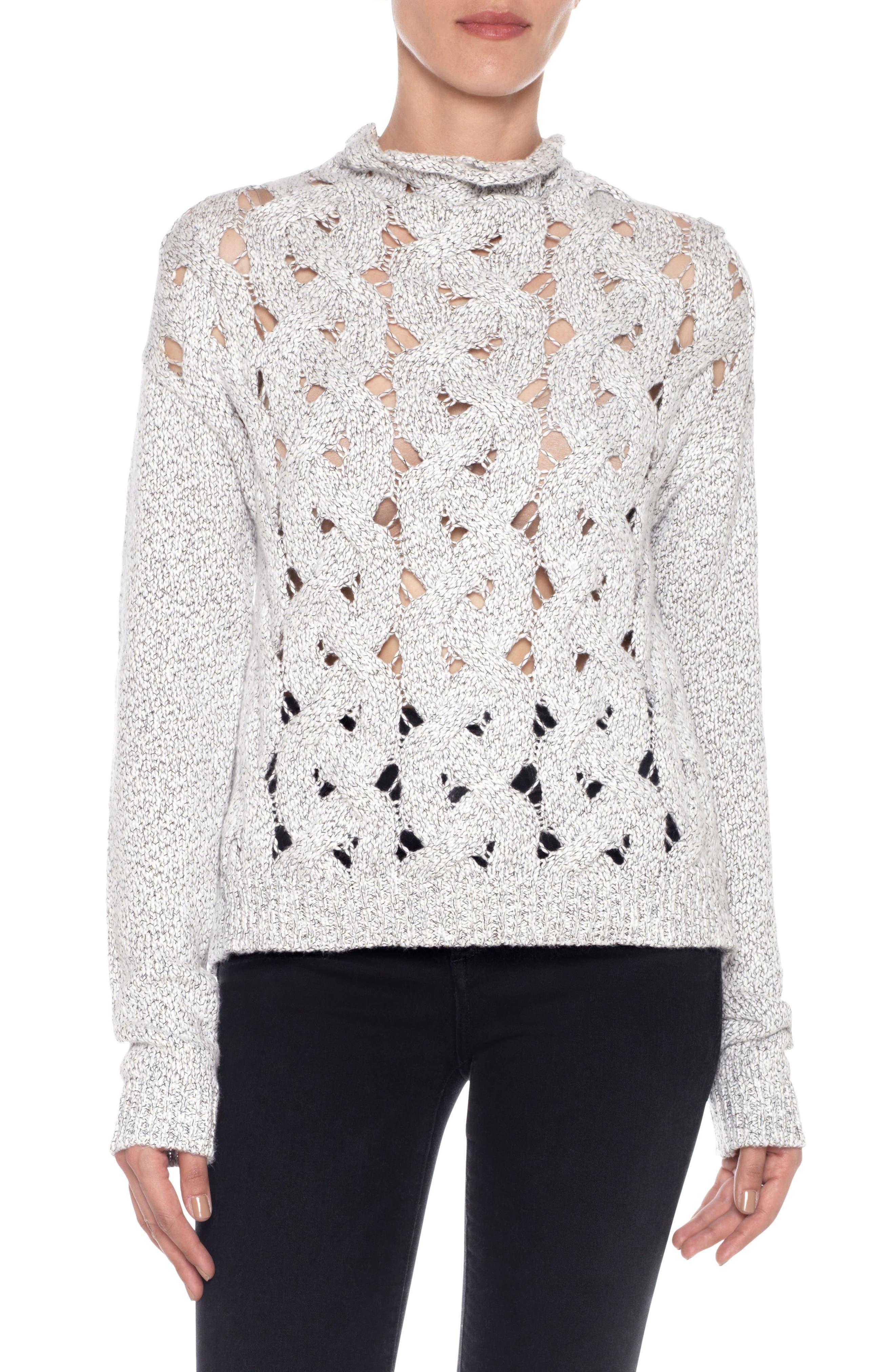 Aubree Roll Neck Sweater,                         Main,                         color, White/ Black
