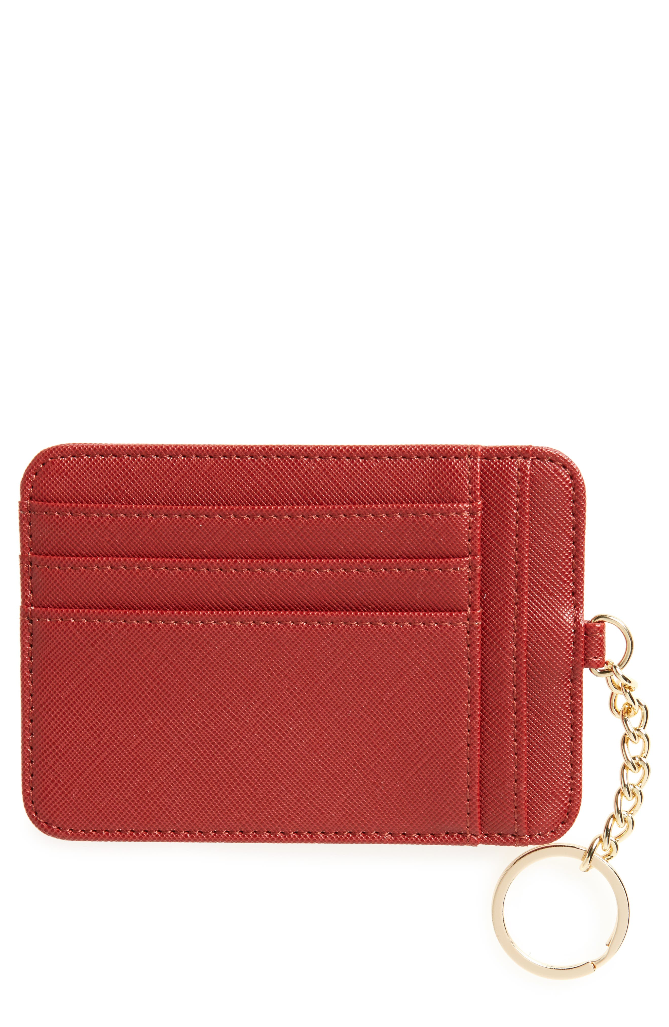 BP. Faux Leather Zip Key Chain Card Case