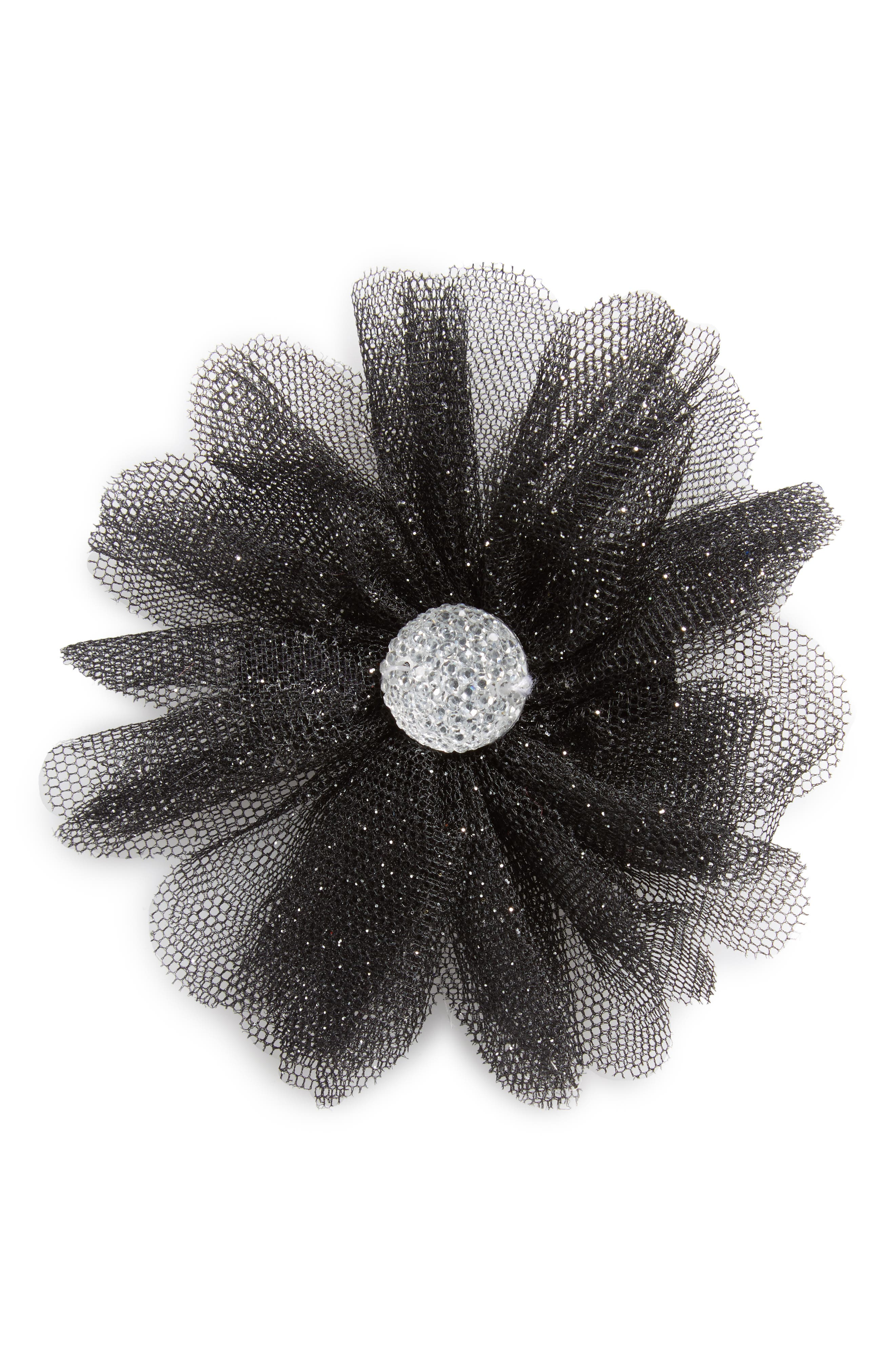 Main Image - PLH Bows & Laces Glitter Flower Hair Clip (Baby Girls)