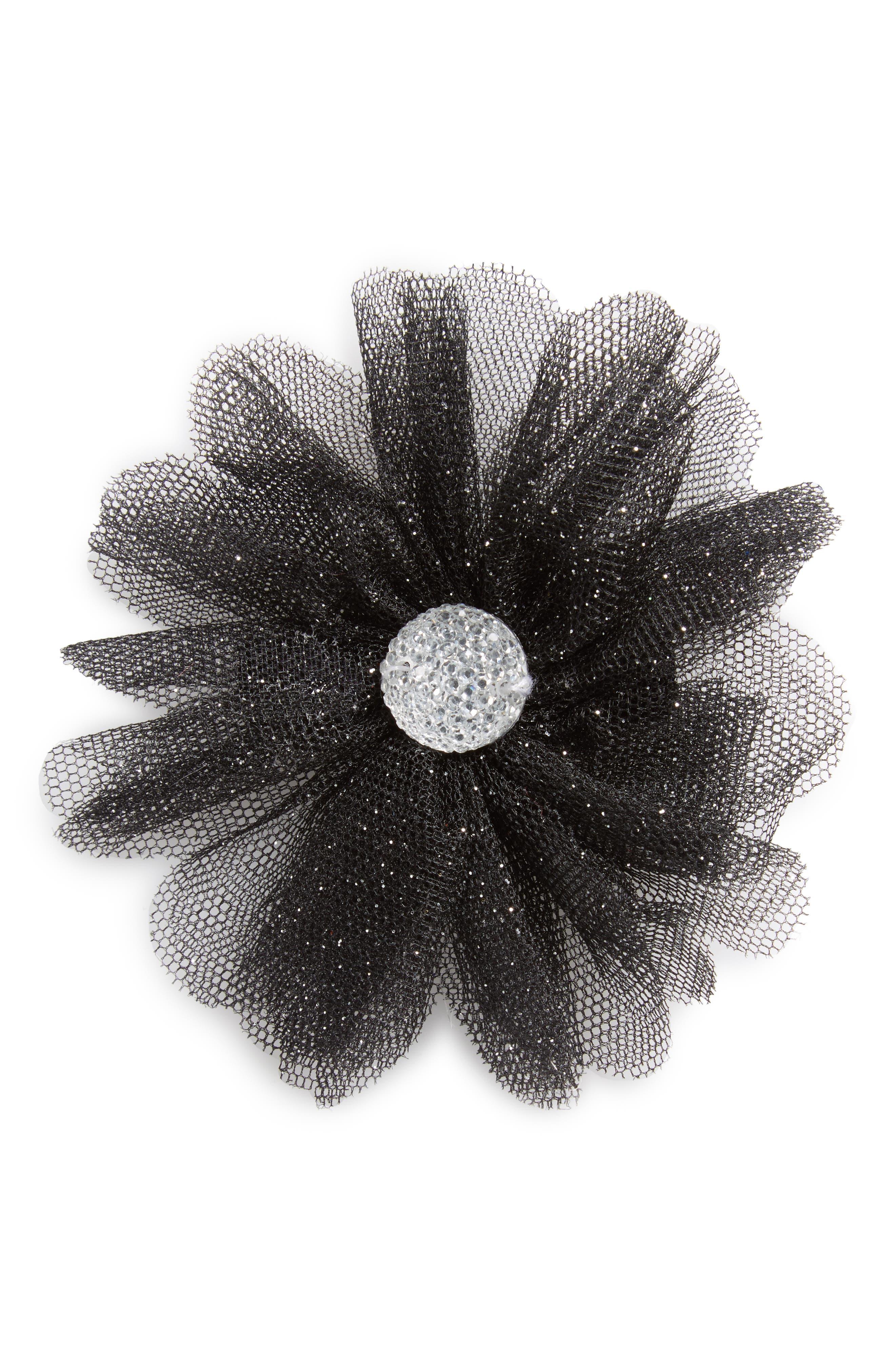 Glitter Flower Hair Clip,                         Main,                         color, Black