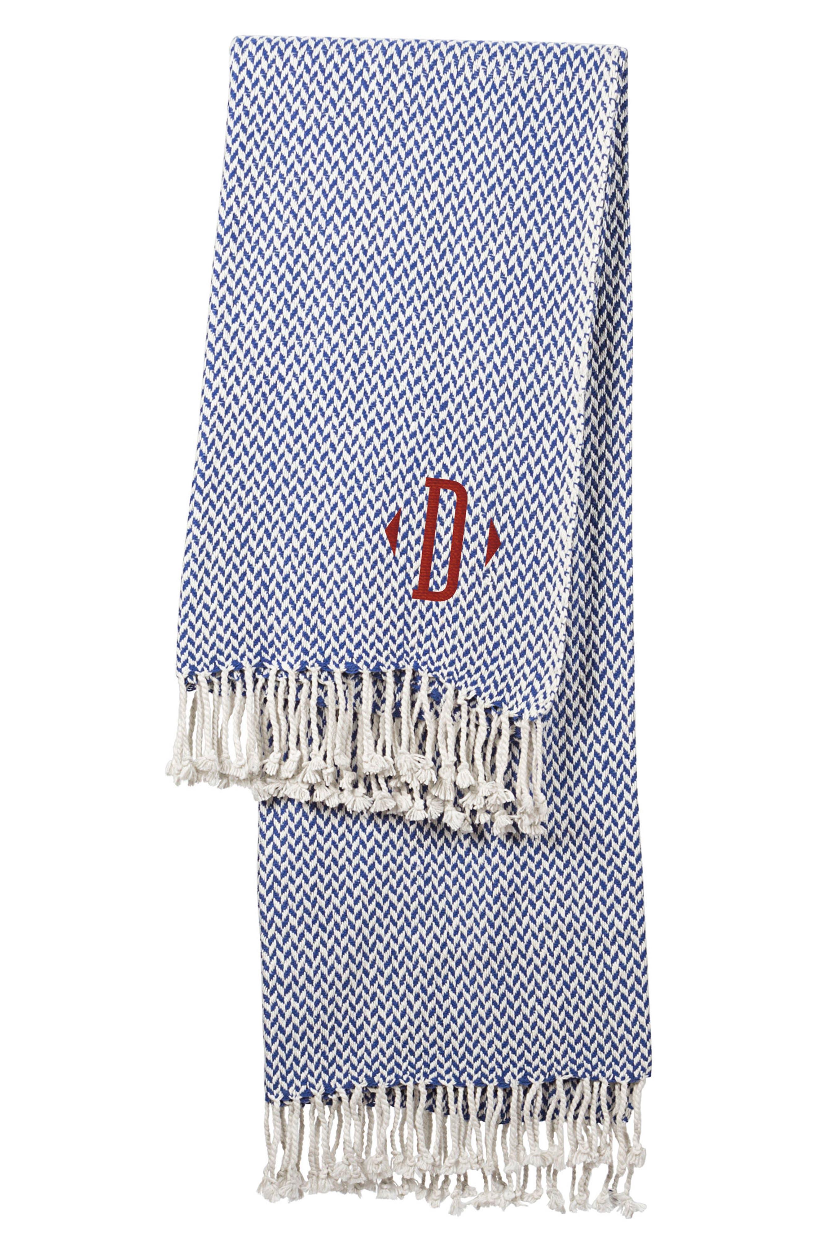 Monogram Herringbone Throw Blanket,                         Main,                         color, Blue-D