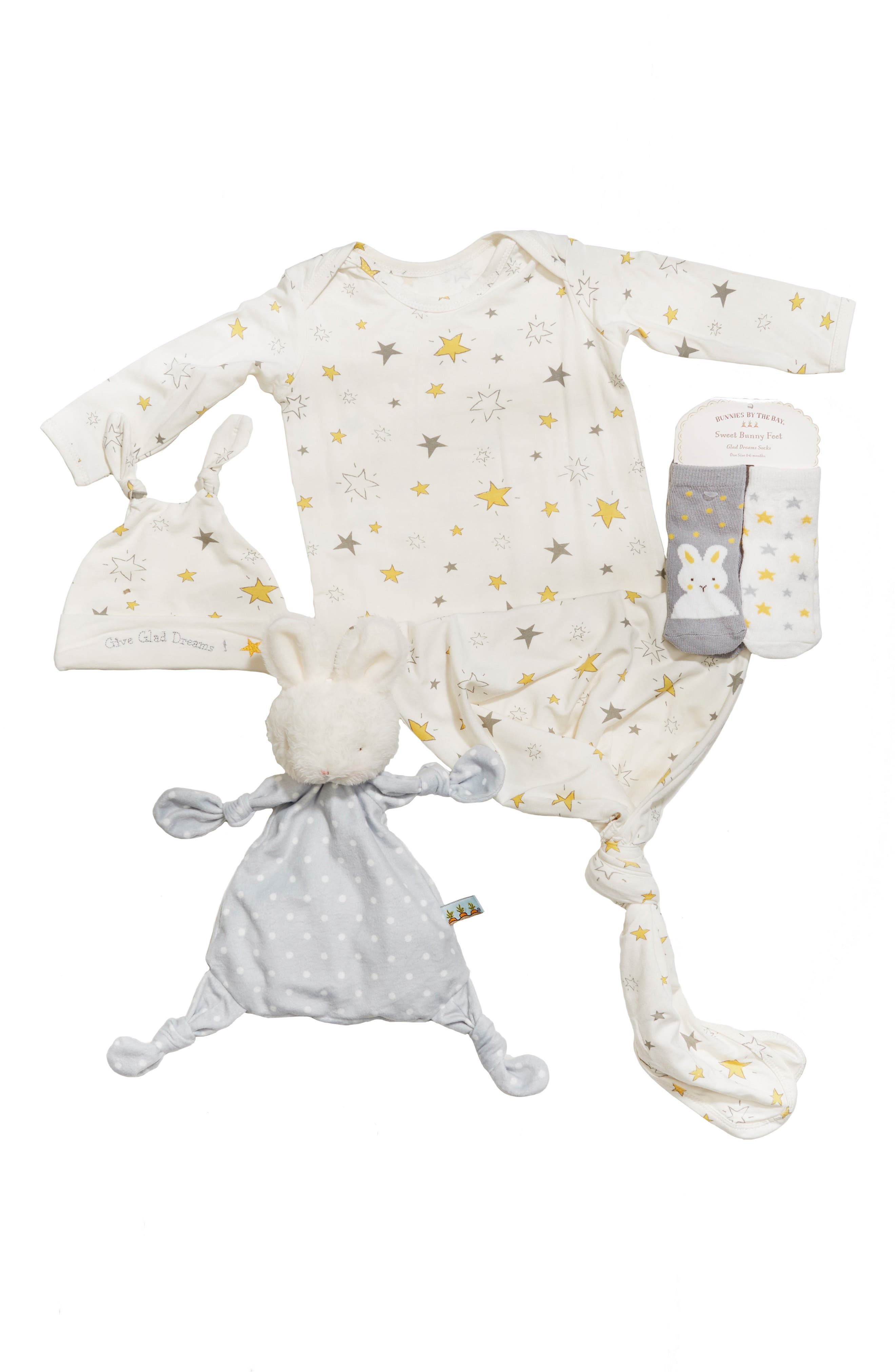 Gown, Hat, Socks & Lovey Set,                         Main,                         color, Grady Grey