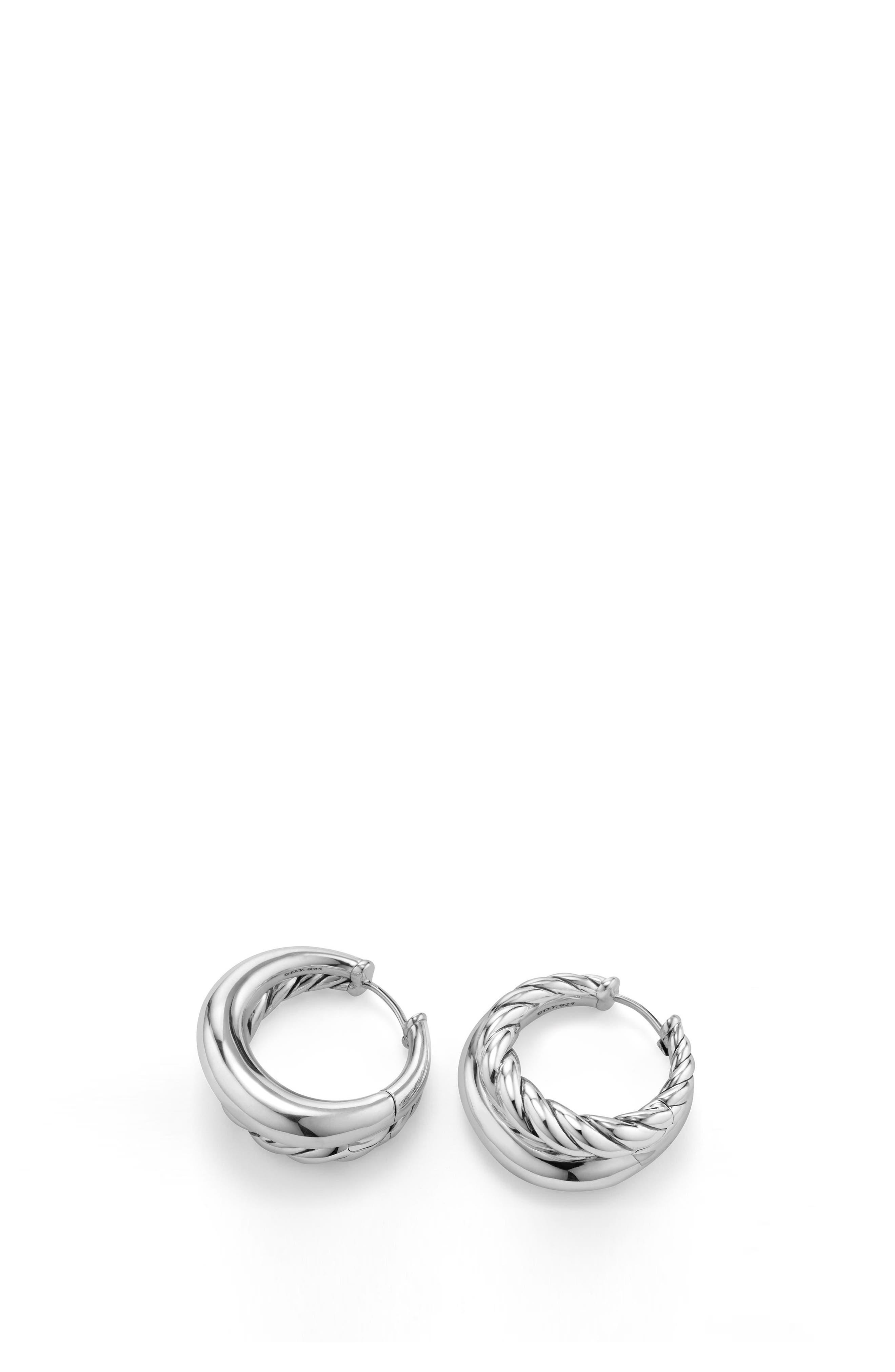 Pure Form Hoop Earrings, 25.5mm,                             Alternate thumbnail 2, color,                             Silver
