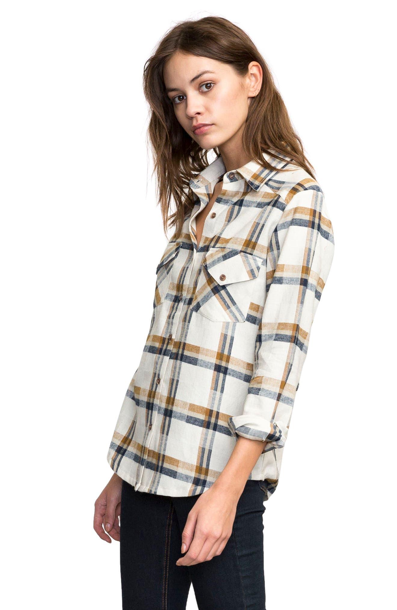 Plaid Flannel Shirt,                             Alternate thumbnail 3, color,                             Slb - Silver Bleach