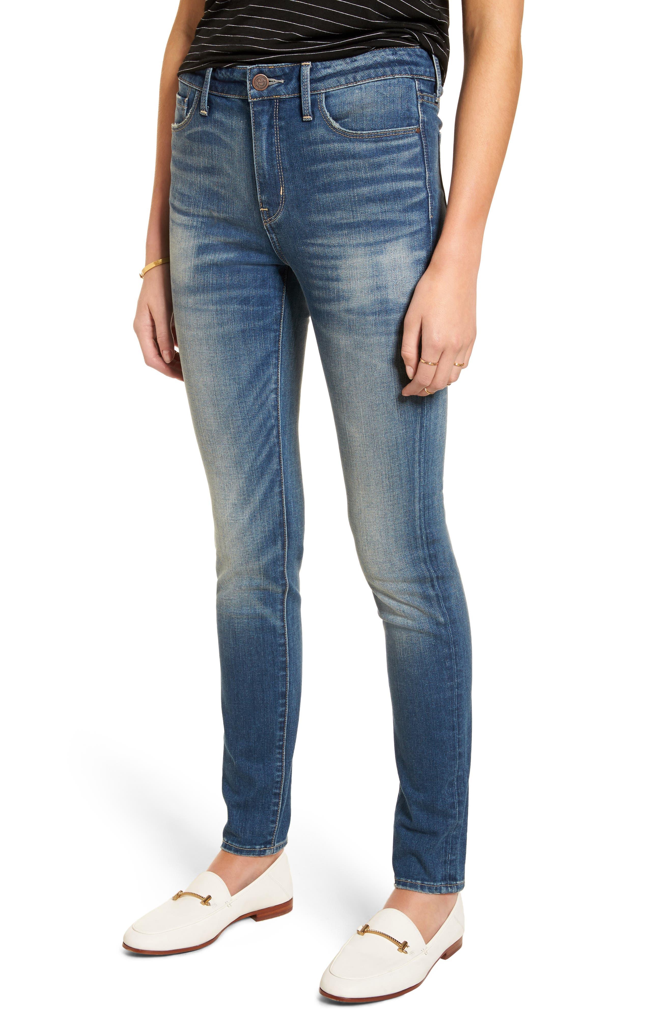 High Waist Skinny Jeans,                             Main thumbnail 1, color,                             Rain Medium Worn