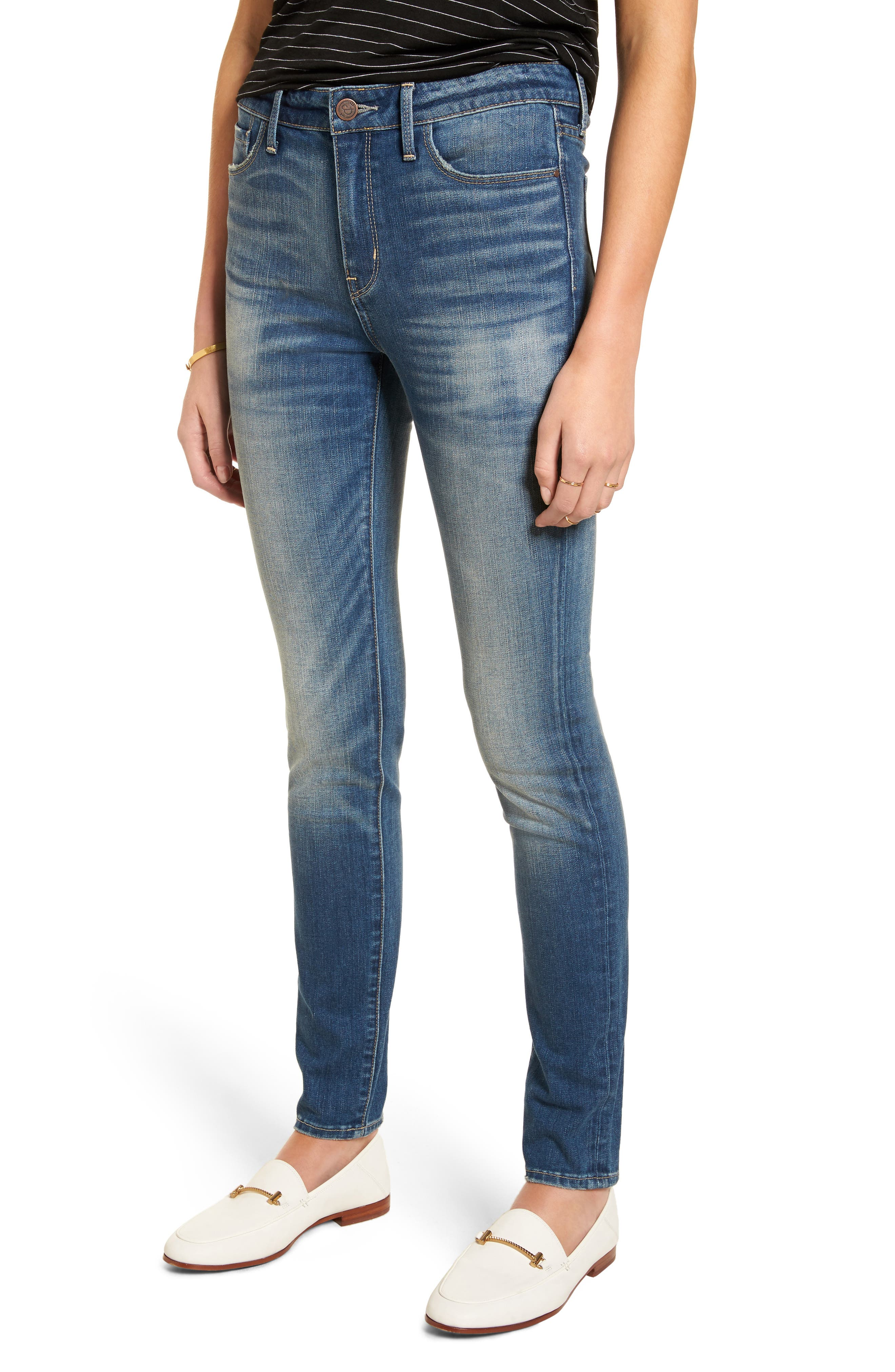 Main Image - Treasure & Bond High Waist Skinny Jeans (Rain Medium Worn)