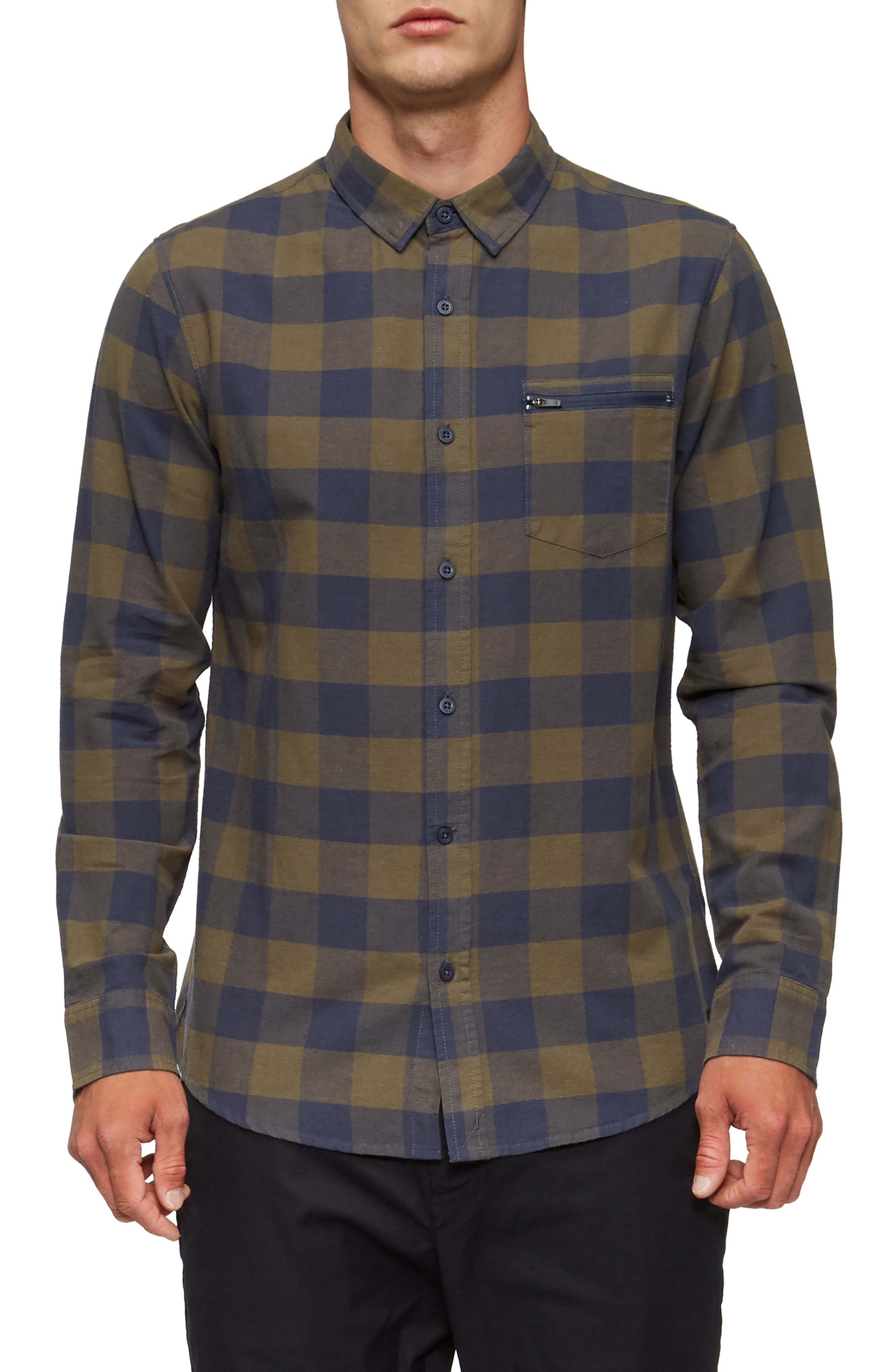 Cohen Long-Sleeve Shirt,                         Main,                         color, Shadow Blue/ Olive