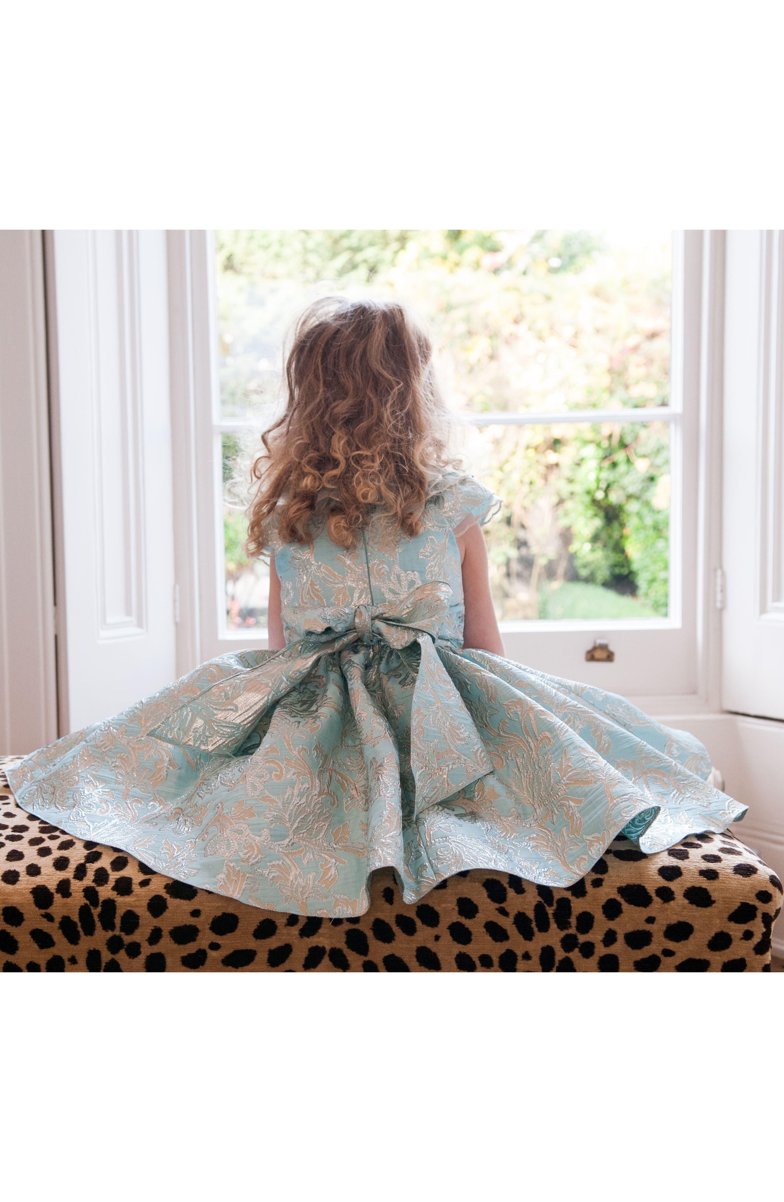 Alternate Image 3  - David Chales Ruffle Neck Brocade Dress (Toddler Girls & Little Girls)