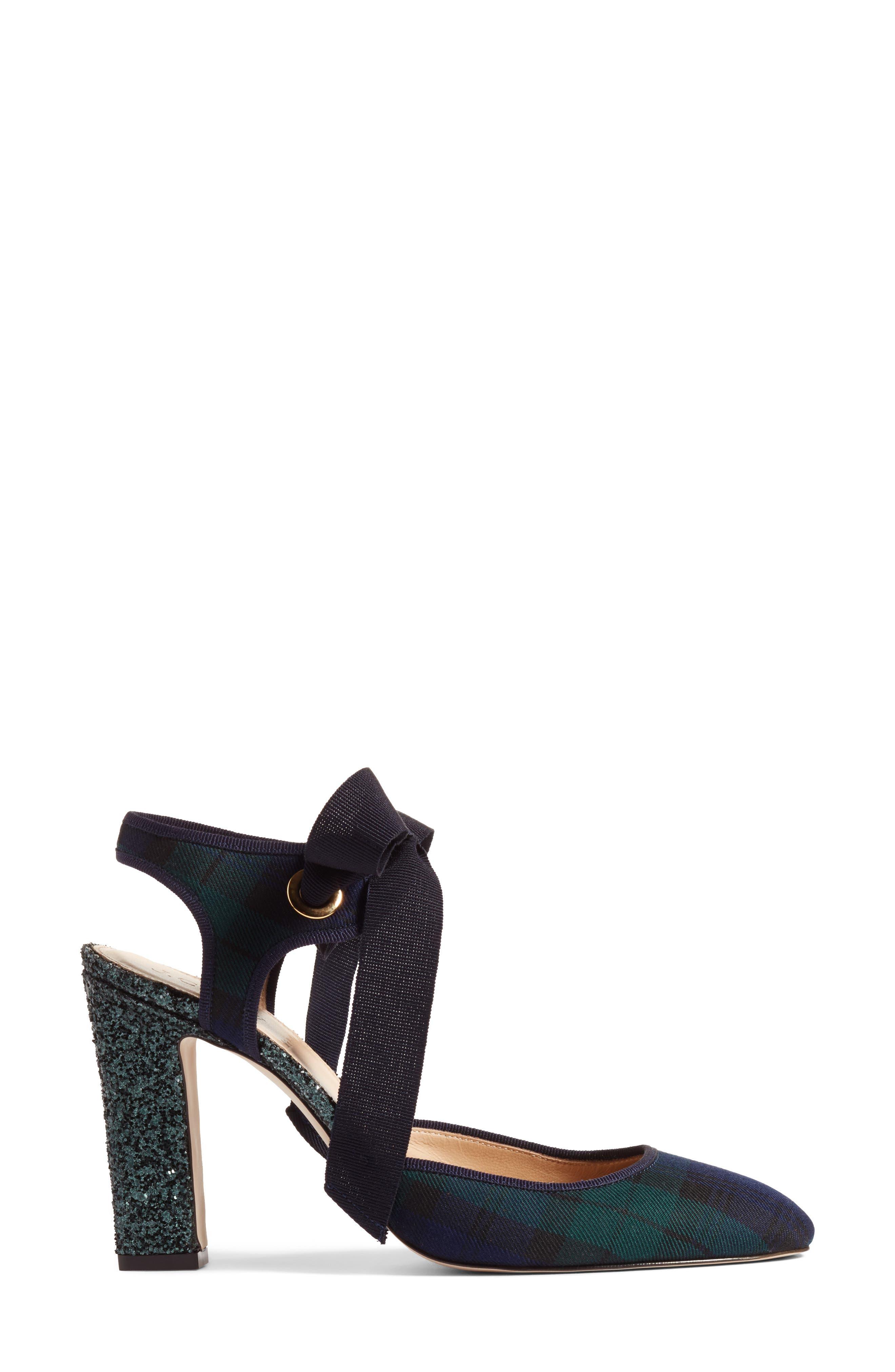 Blackwatch Bow Pump,                             Alternate thumbnail 3, color,                             Green/ Black Leather