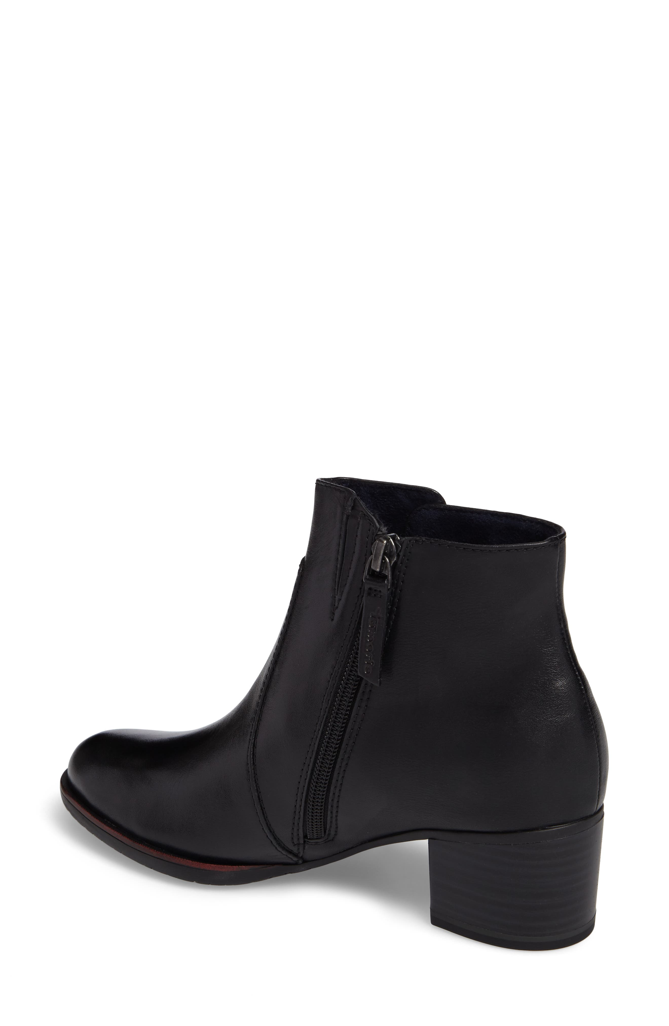 Akaria Mixed Finish Bootie,                             Alternate thumbnail 2, color,                             Black Leather