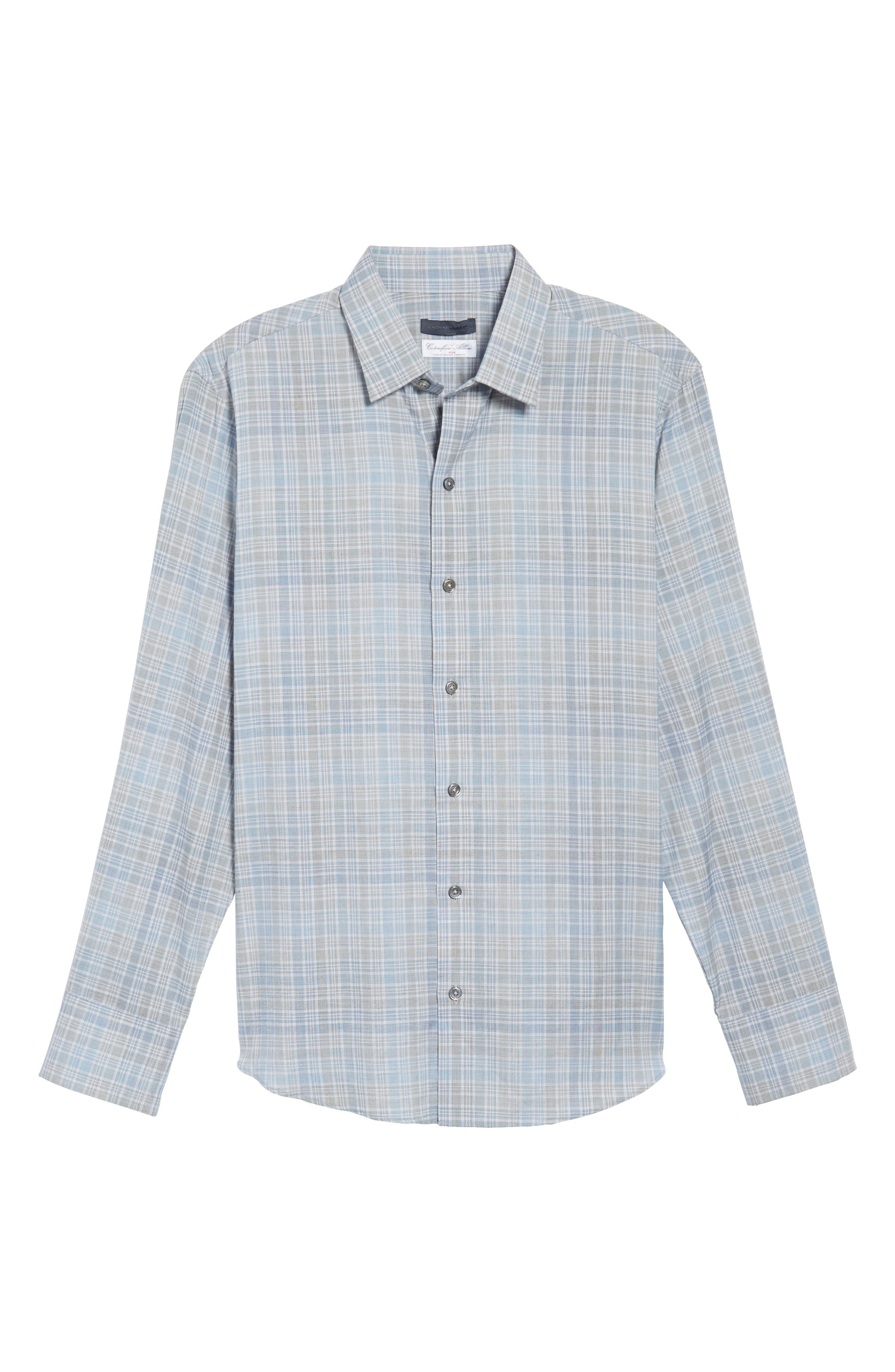 Johannes Slim Fit Plaid Sport Shirt,                             Alternate thumbnail 6, color,                             Light Grey