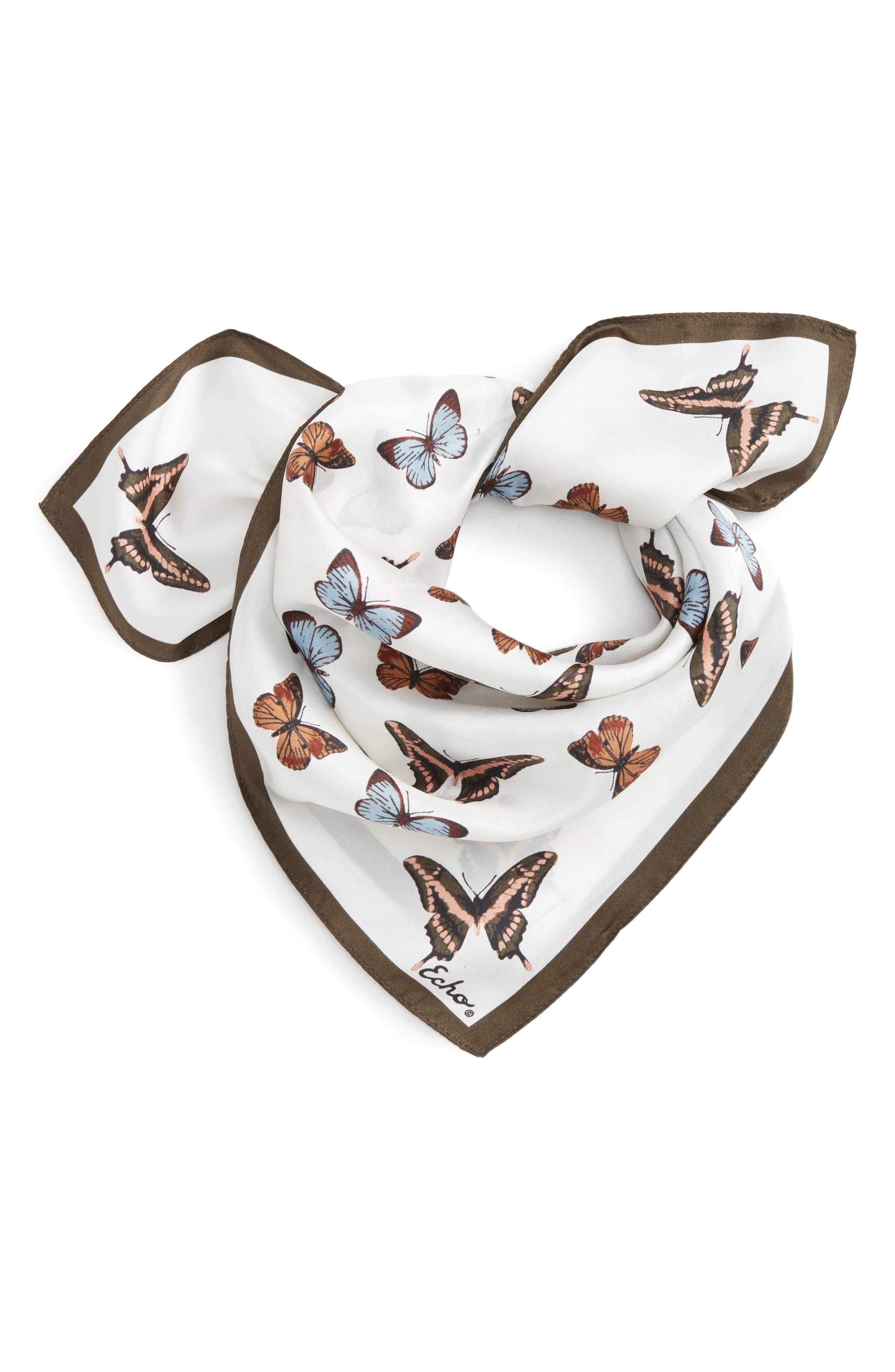 Butterfly Silk Bandana,                         Main,                         color, Marshmallow