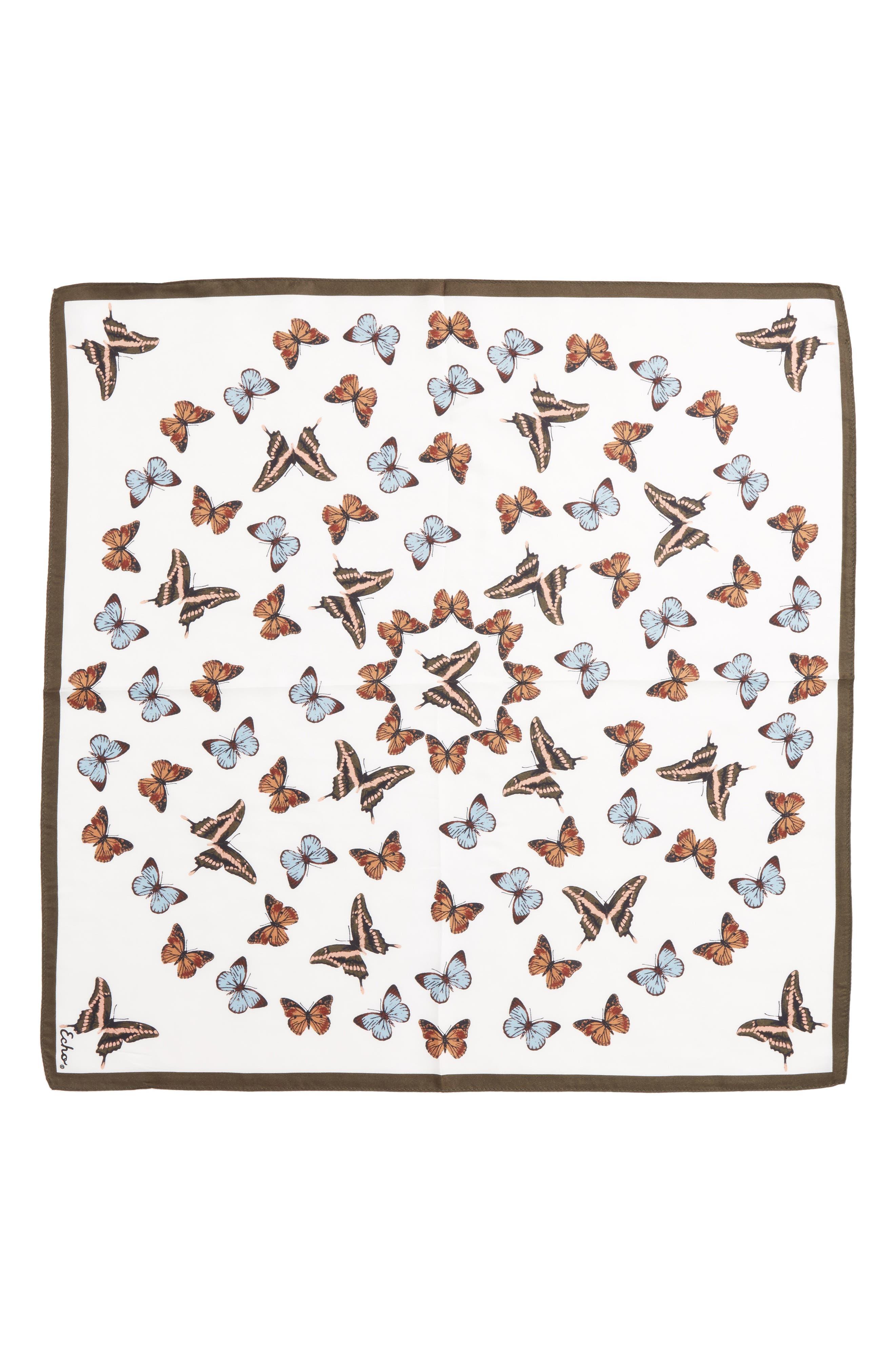 Butterfly Silk Bandana,                             Alternate thumbnail 2, color,                             Marshmallow