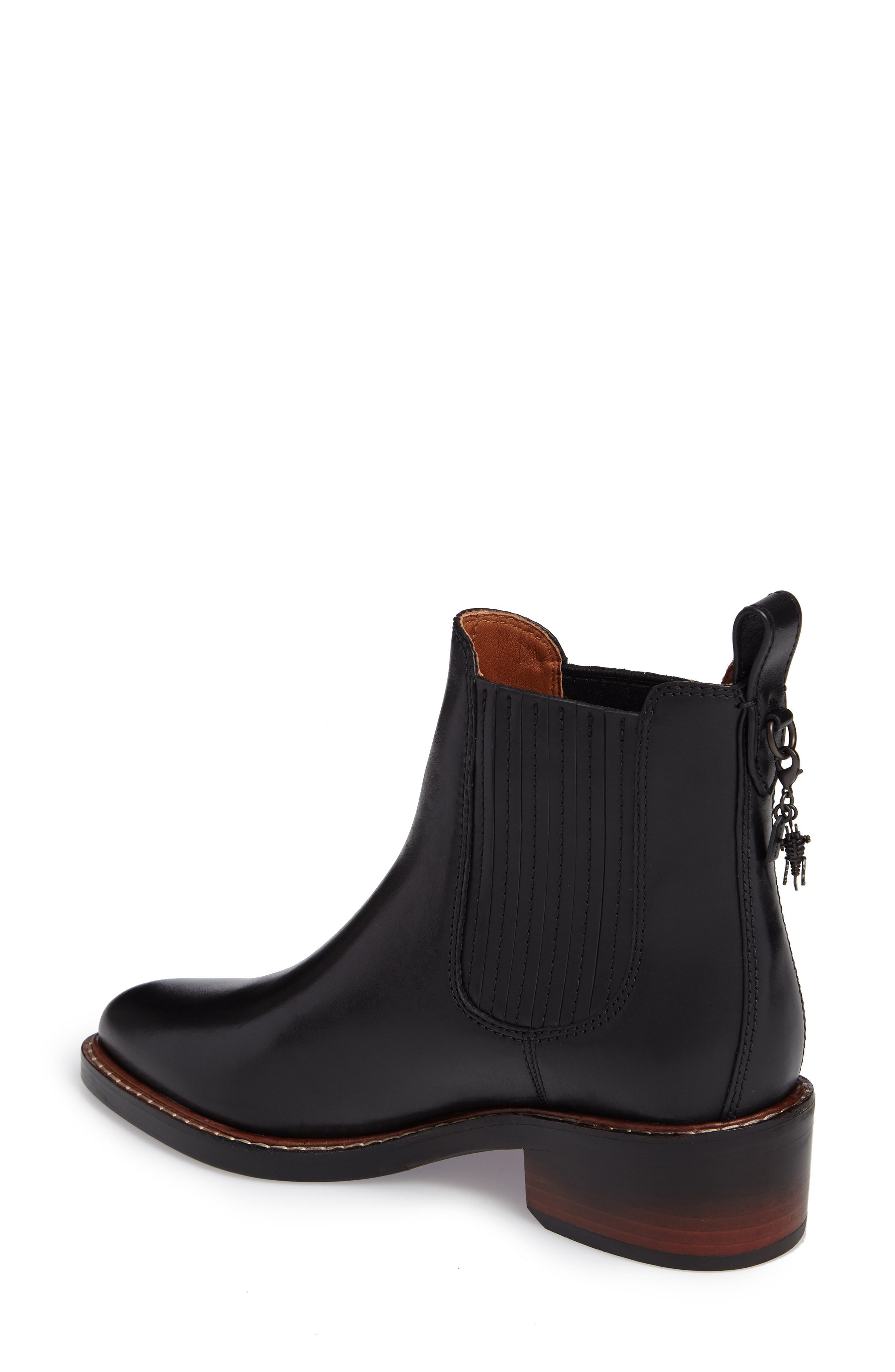 Bowery Embroidered Chelsea Bootie,                             Alternate thumbnail 2, color,                             Black Leather