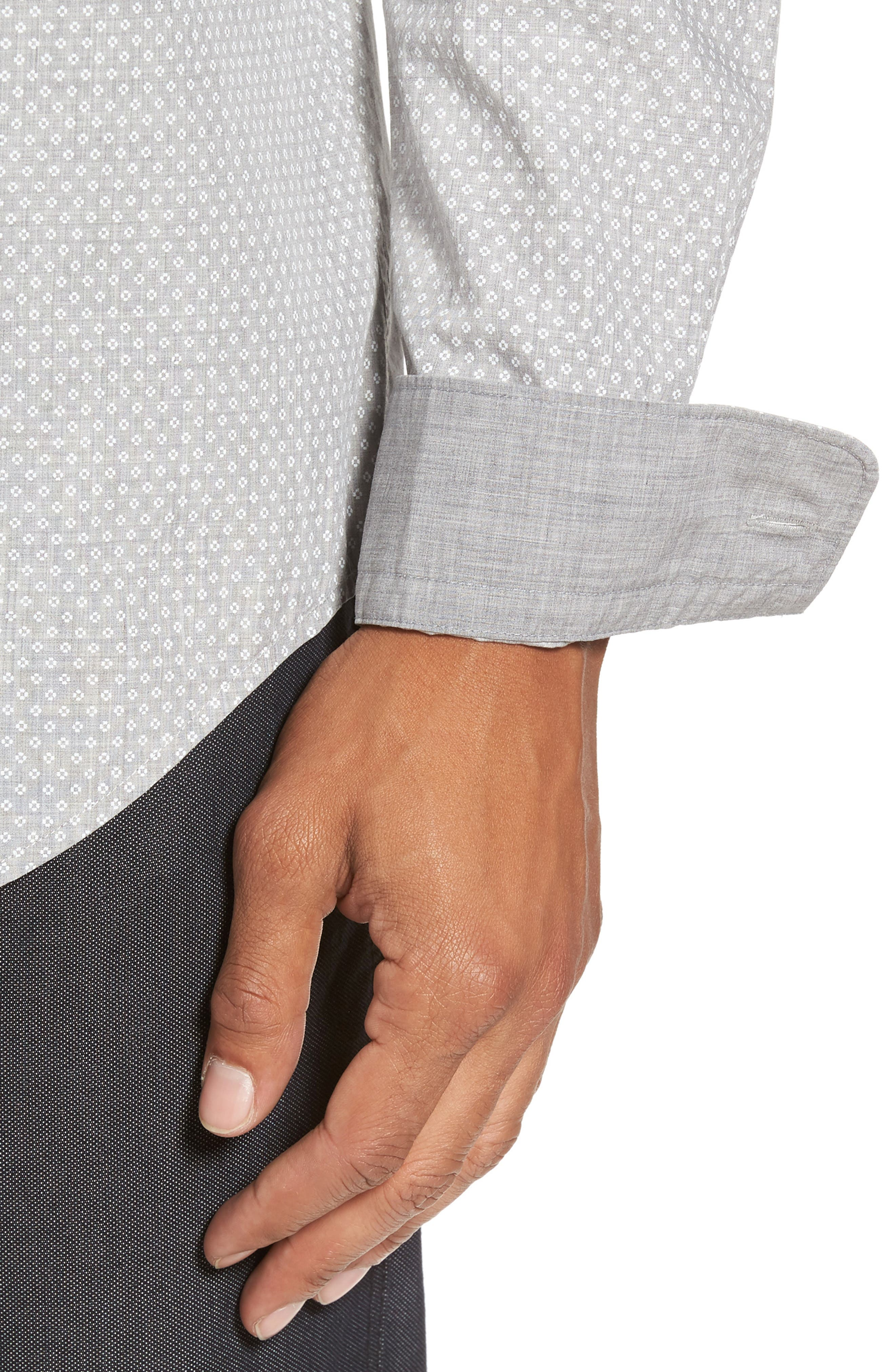 Ridley Slim Fit Micro Diamond Sport Shirt,                             Alternate thumbnail 4, color,                             Grey