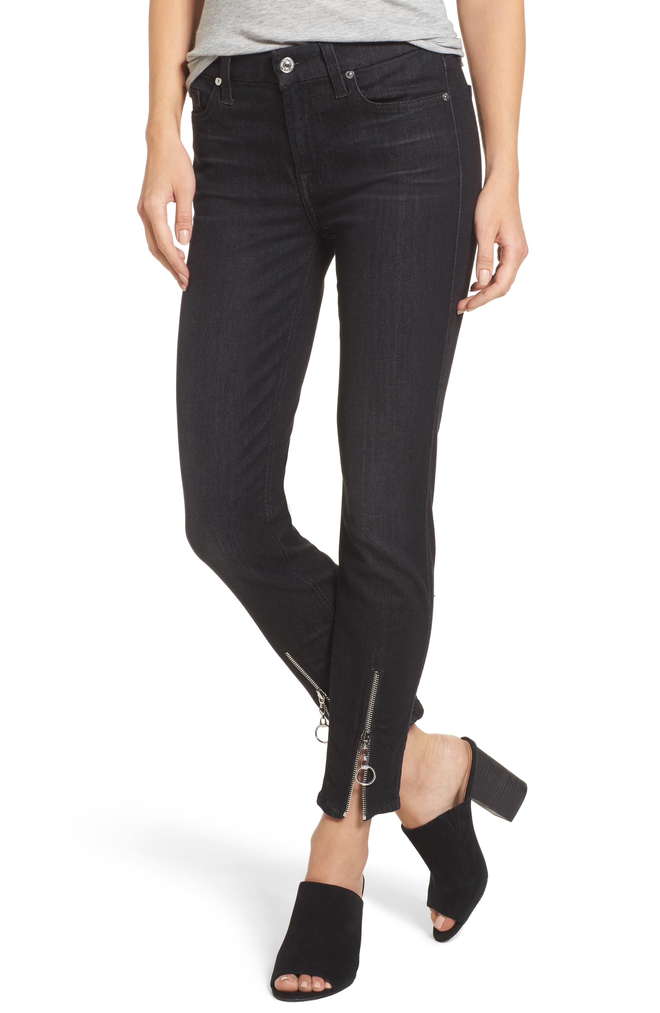 b(air) - Roxanne Ankle Zip Jeans,                             Main thumbnail 1, color,                             Bair Noir