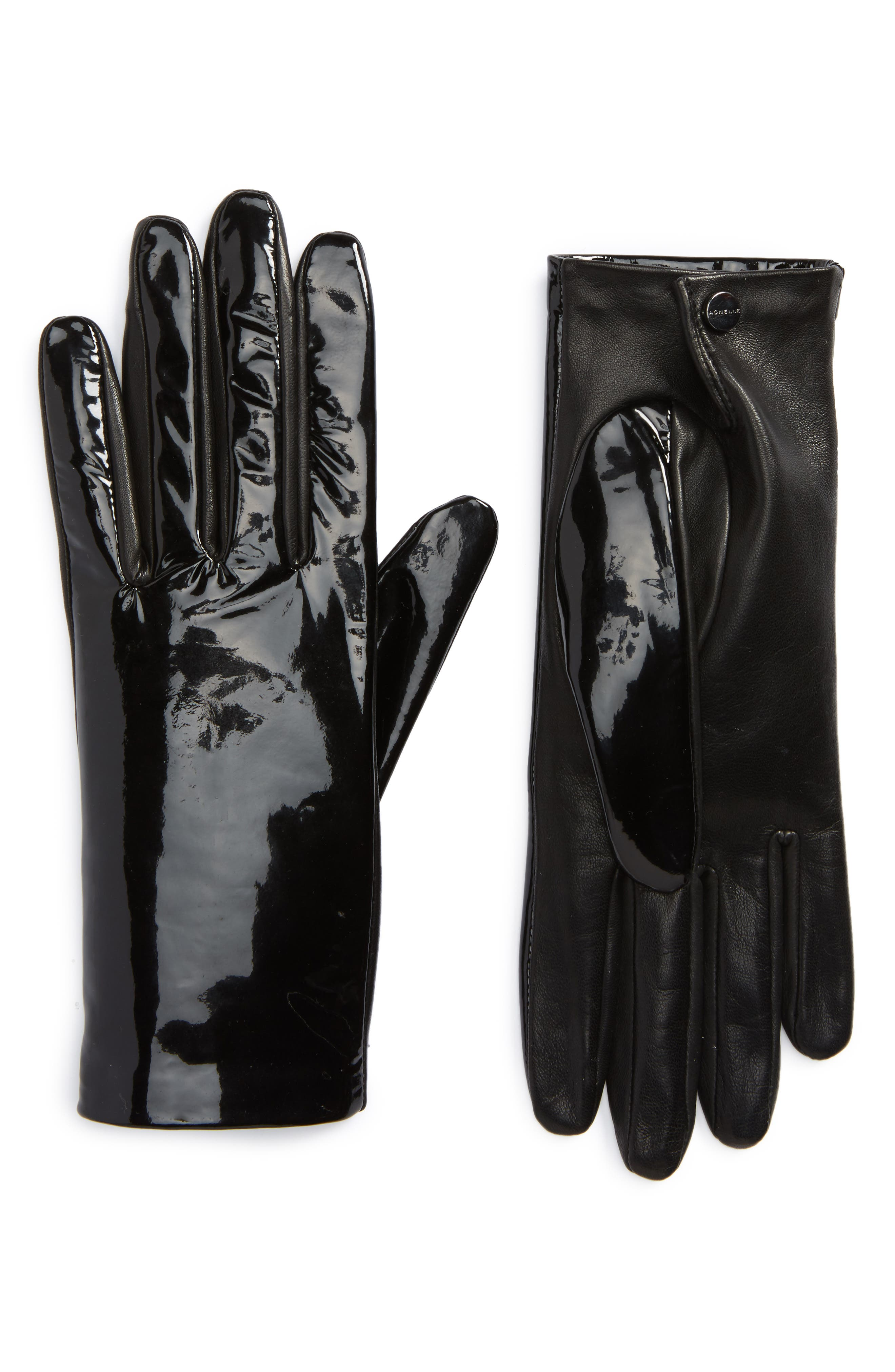 Mixed Media Lambskin Leather Gloves,                         Main,                         color, Noir
