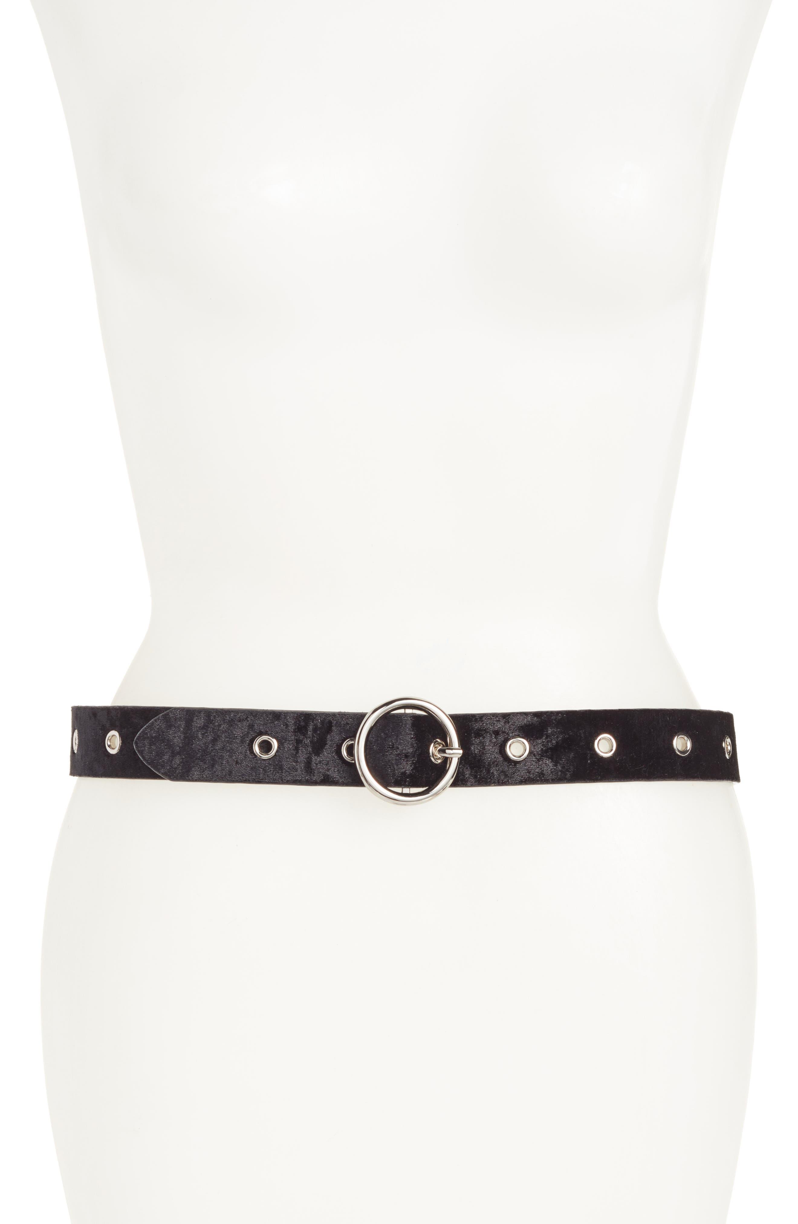 Main Image - Halogen® Grommet Velvet Skinny Belt