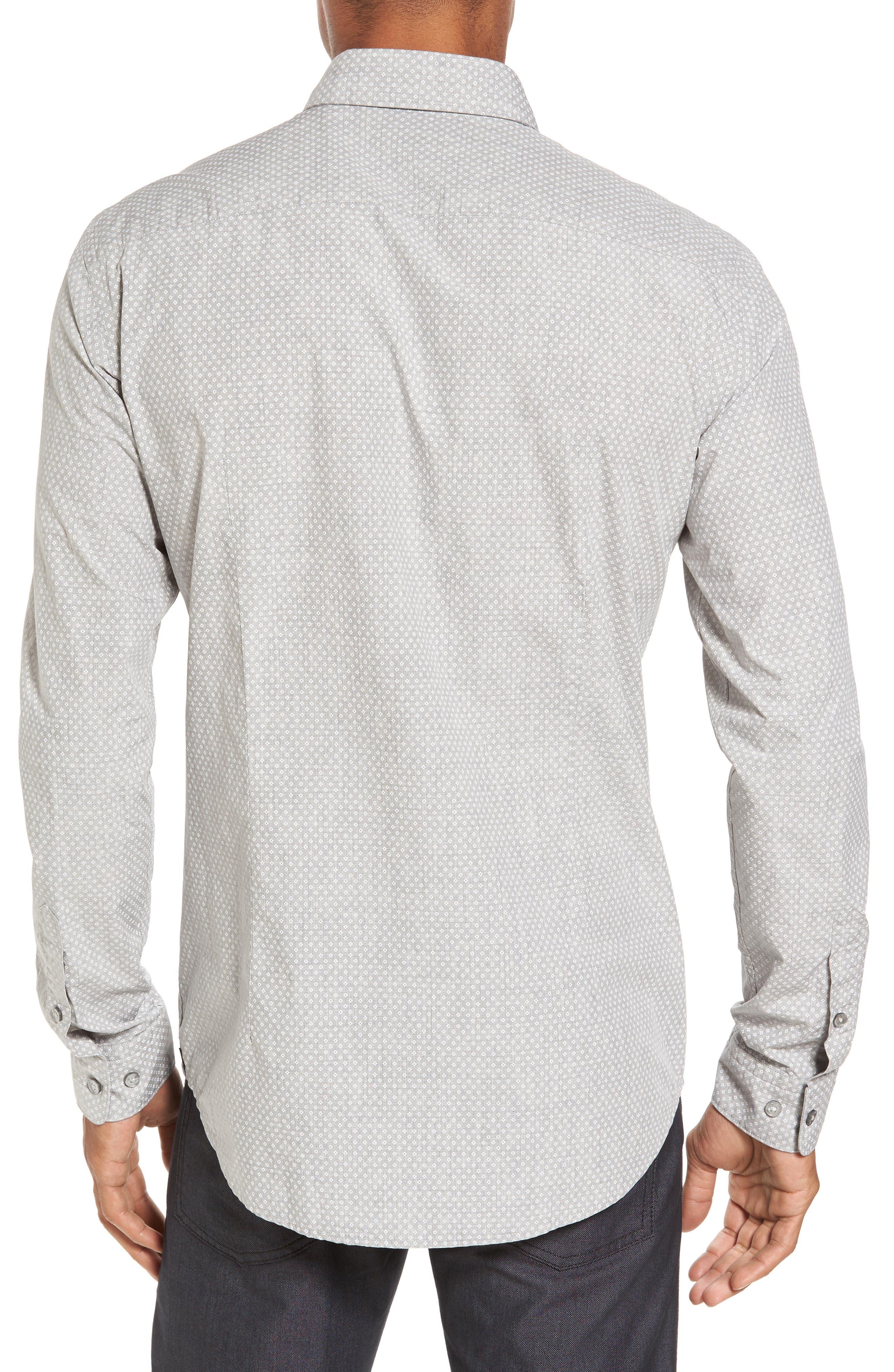 Ridley Slim Fit Micro Diamond Sport Shirt,                             Alternate thumbnail 2, color,                             Grey